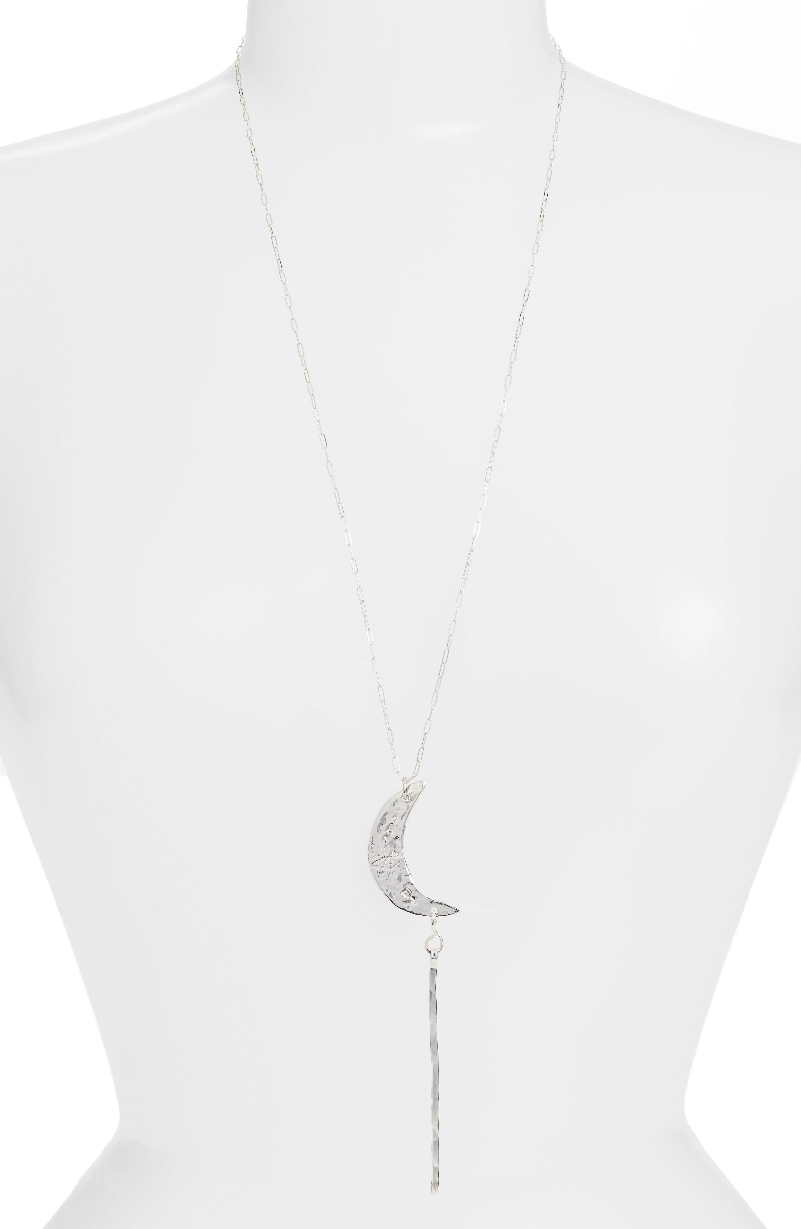 Crescent Moon Pendant Necklace,                             Main thumbnail 1, color,
