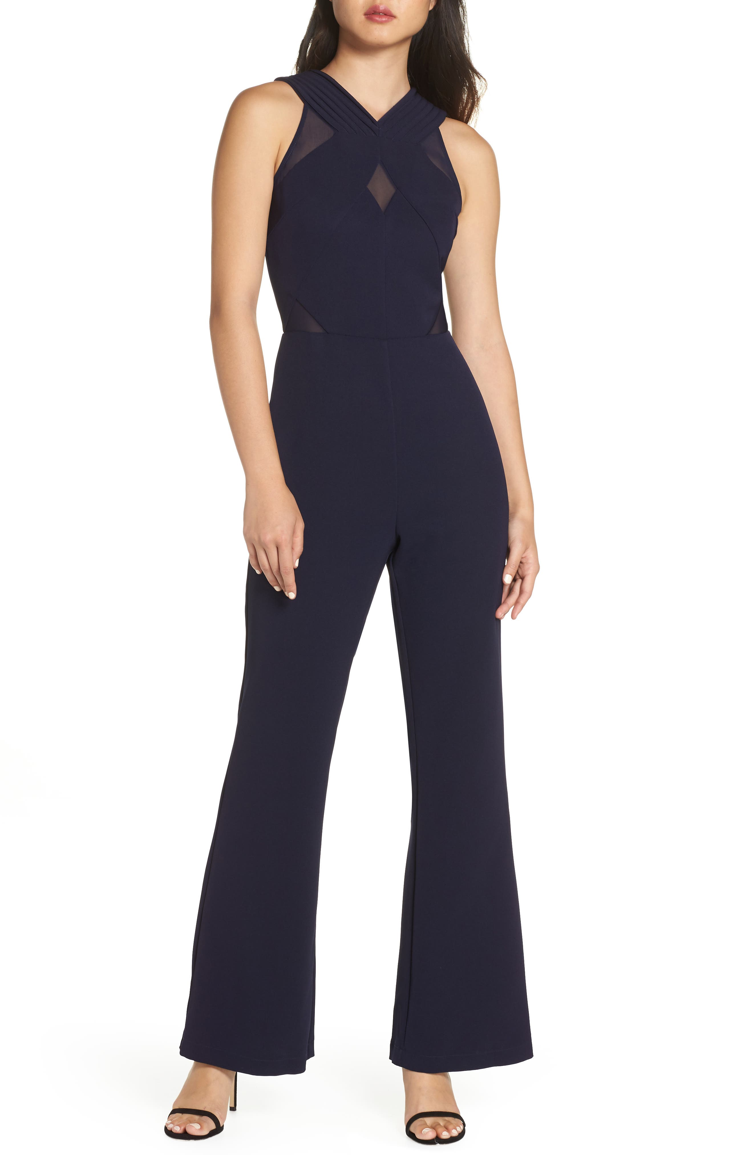 HARLYN Illusion Inset Jumpsuit in Navy