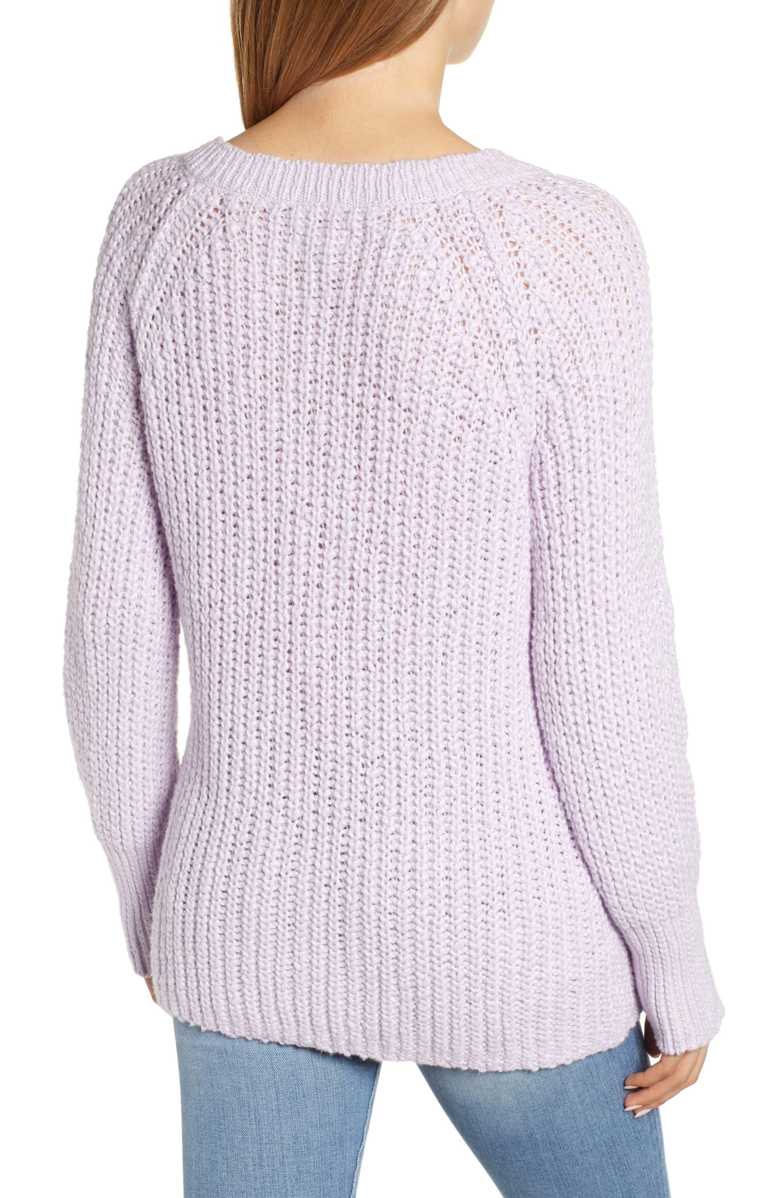 Cozystitch V-Neck Sweater,                             Alternate thumbnail 2, color,                             LILAC