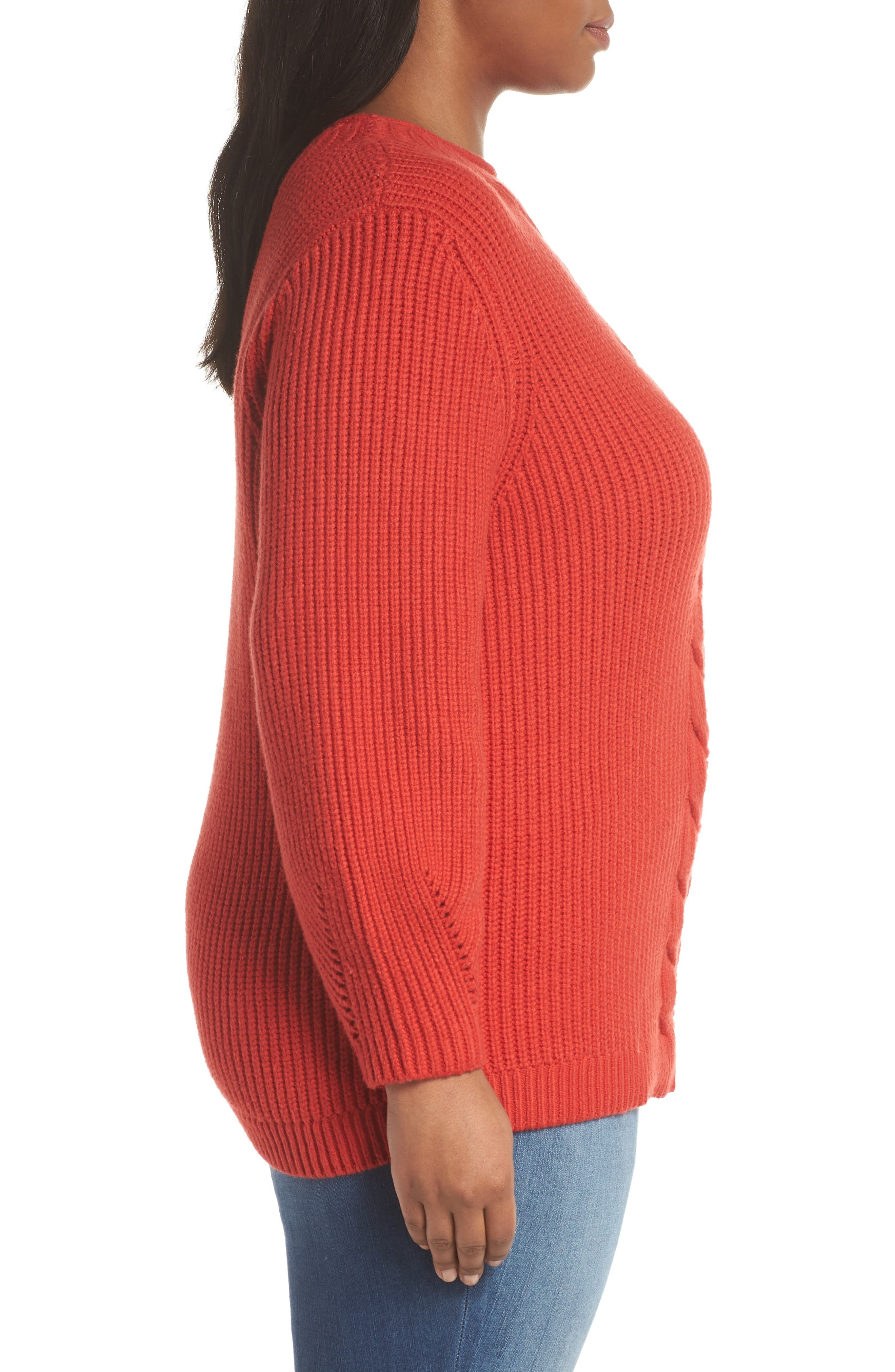 Cable Knit Sweater,                             Alternate thumbnail 3, color,                             RED BLOOM