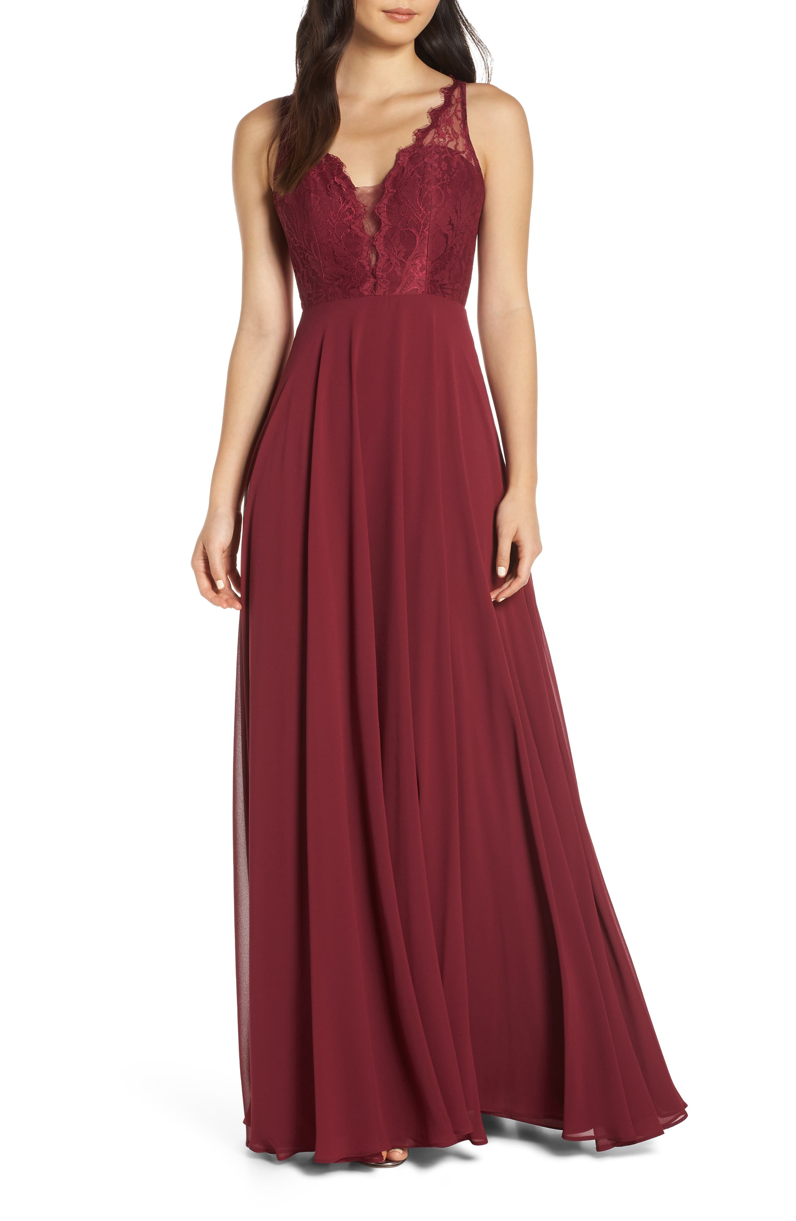Hayley Paige Occasions Lace Bodice Chiffon Evening Dress, Burgundy