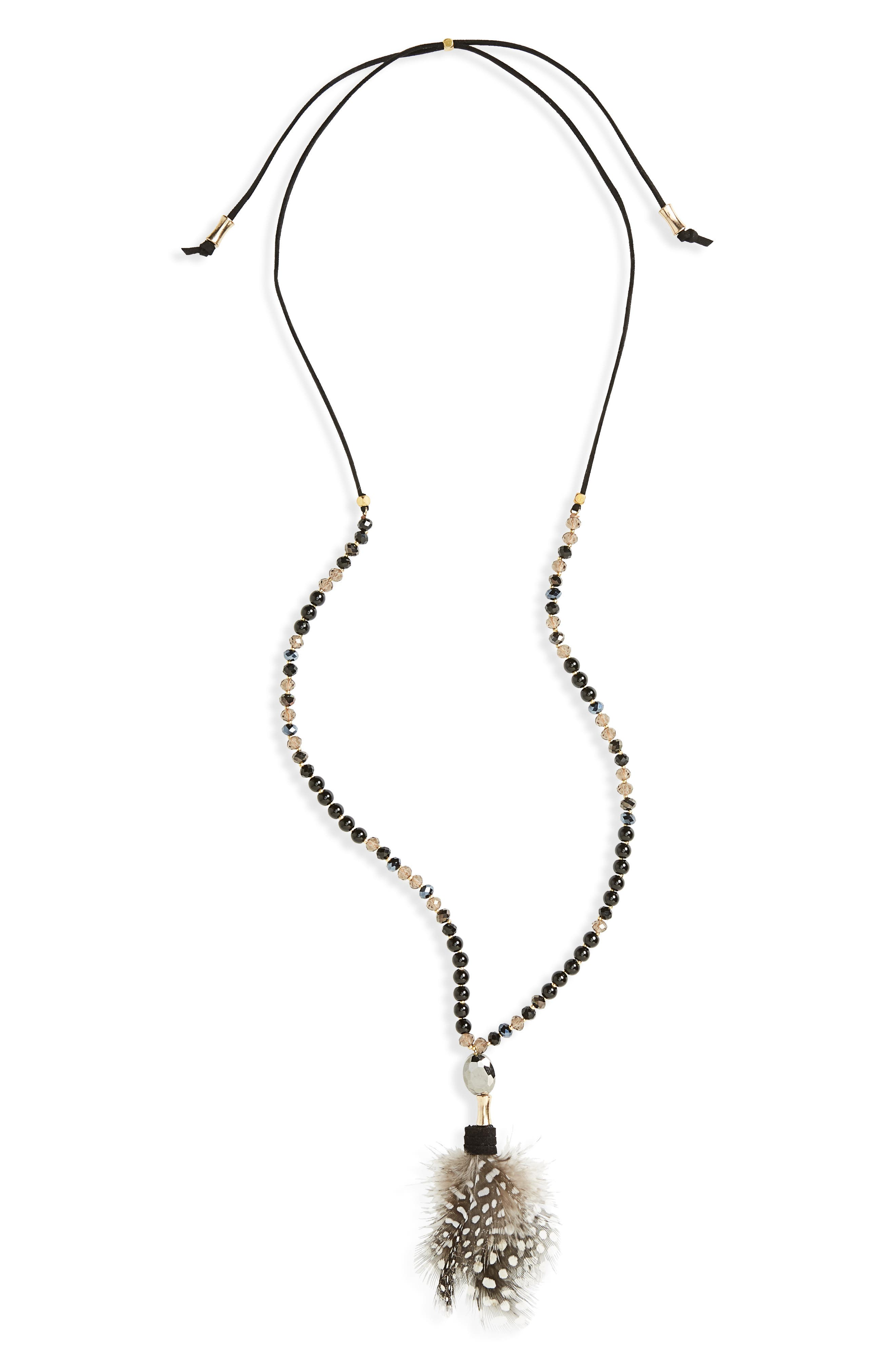 Feather Pendant Necklace,                             Main thumbnail 1, color,                             001