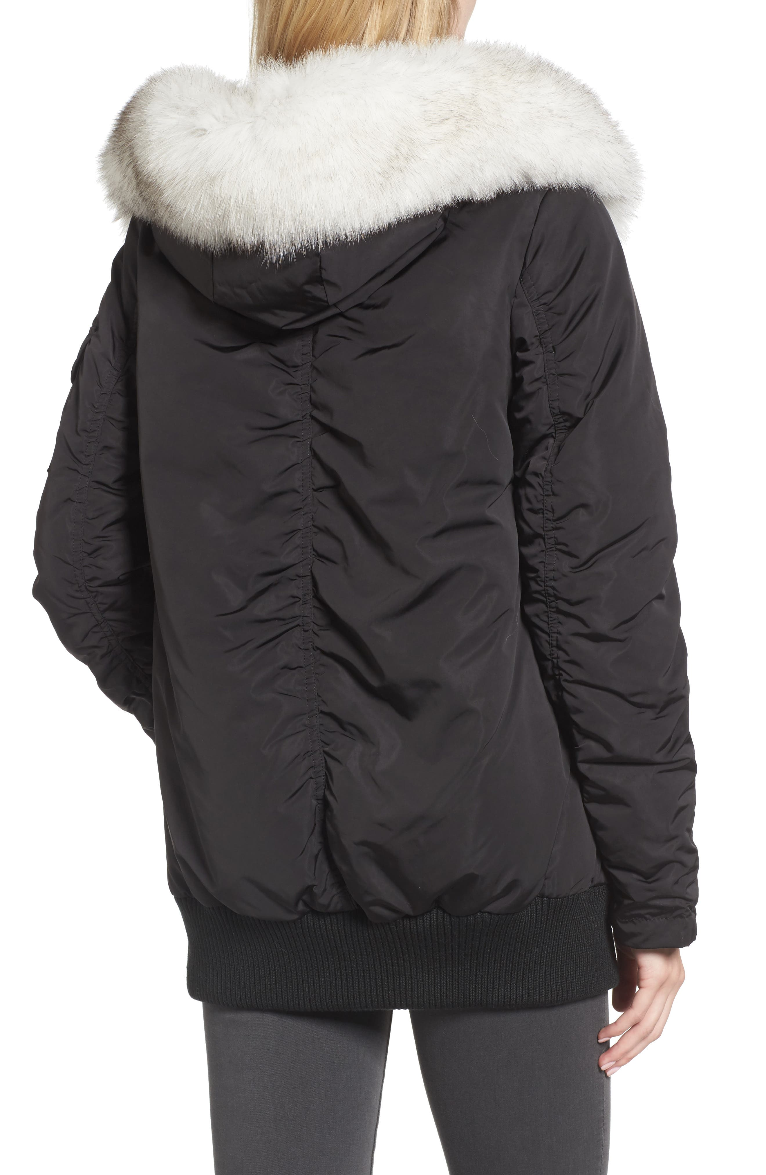 Genuine Fox Fur Trim Down Bomber Jacket,                             Alternate thumbnail 2, color,                             001