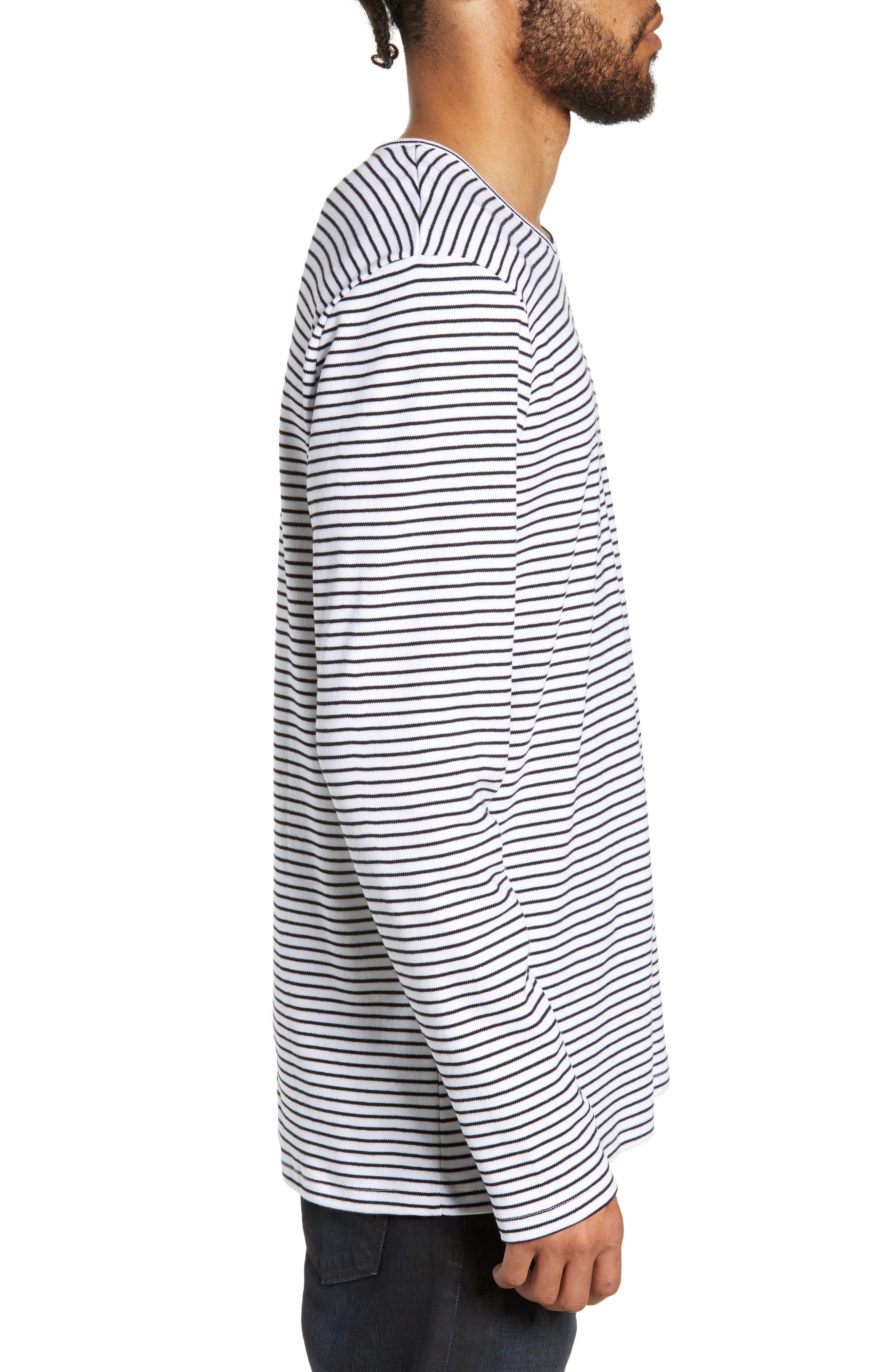 Finham Stripe Long Sleeve T-Shirt,                             Alternate thumbnail 3, color,                             WHITE / BLACK STRIPE