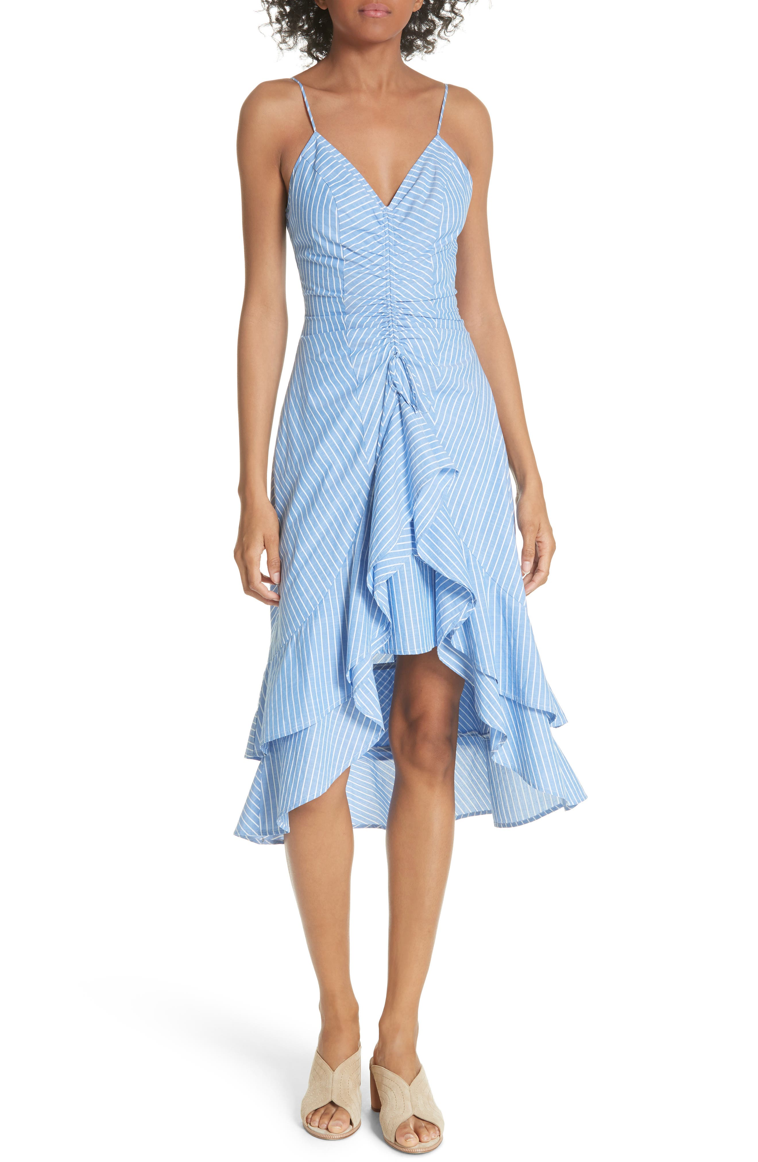 Eberta Stripe High/Low Dress,                             Main thumbnail 1, color,                             FRENCH CHAMBRAY