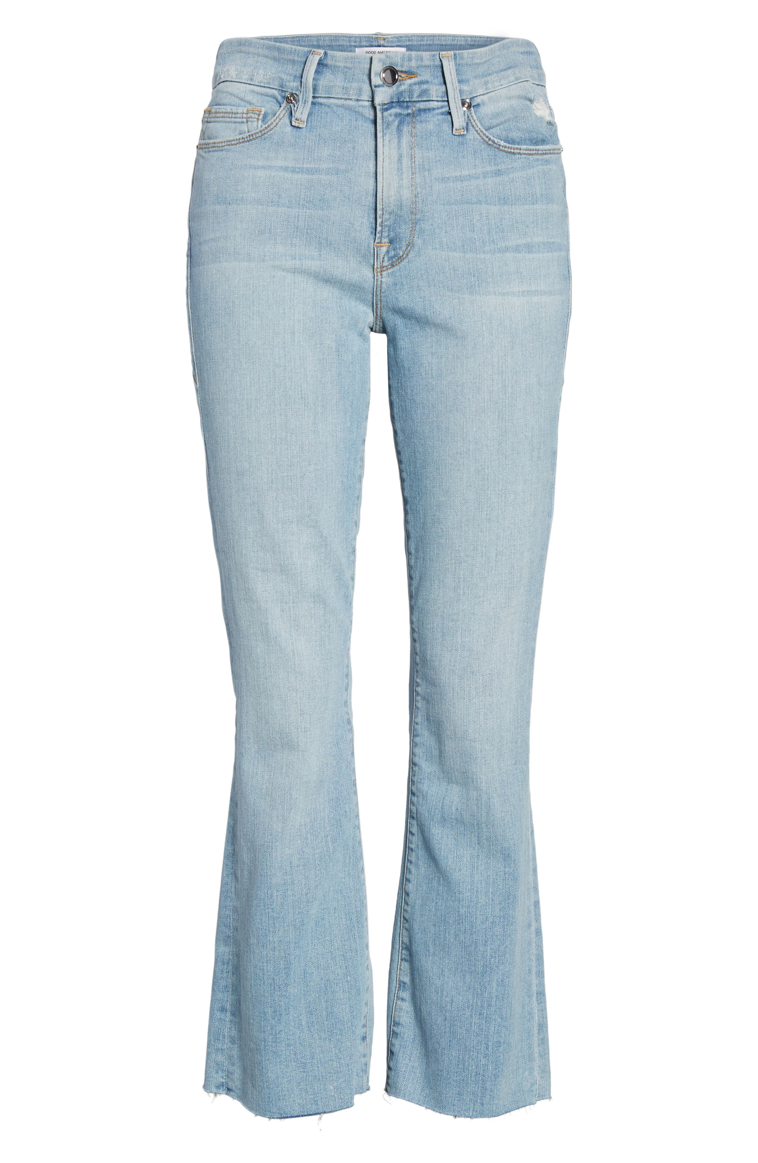 Crop Raw Edge Bootcut Jeans,                             Alternate thumbnail 6, color,                             402