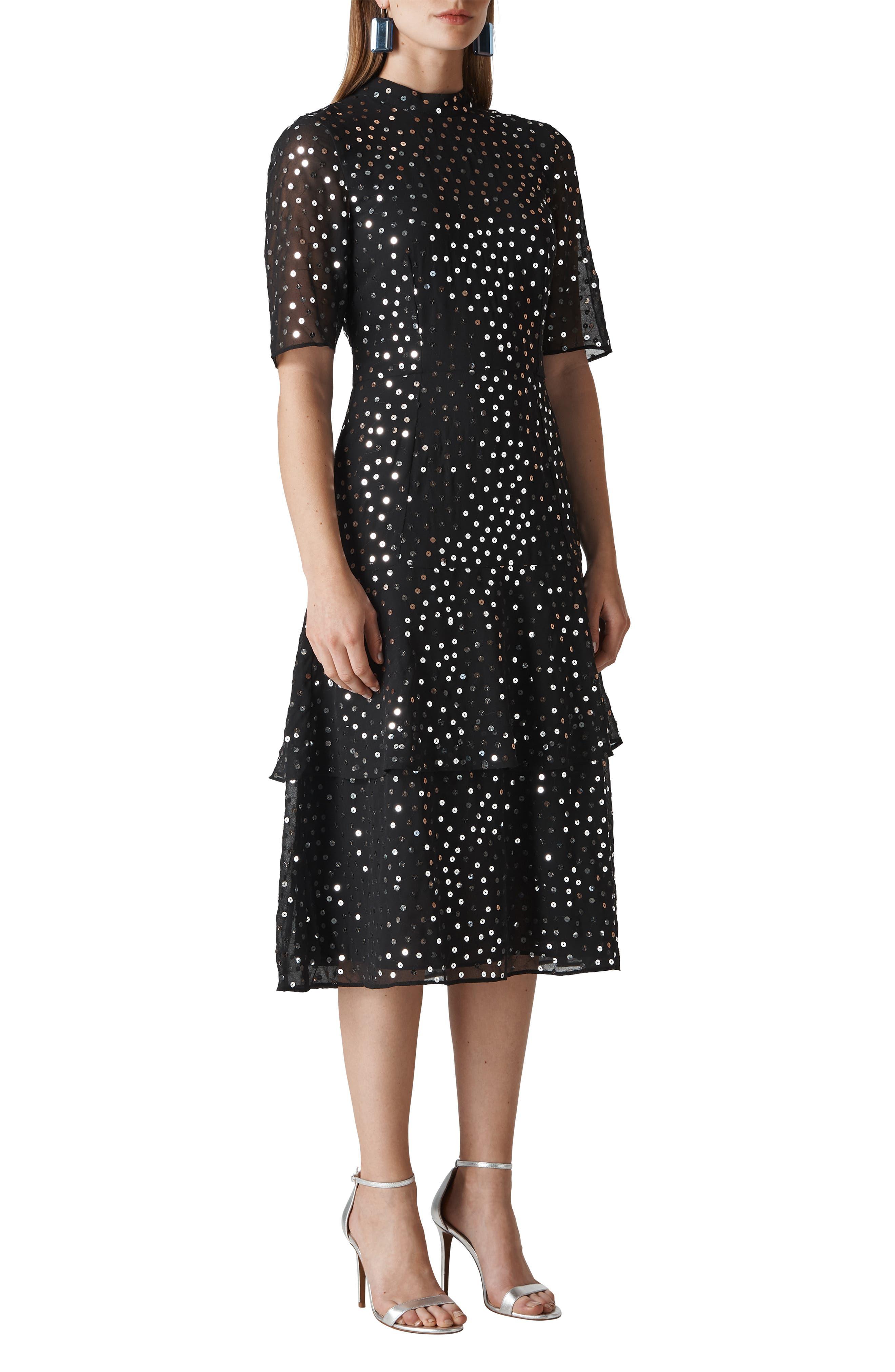 Ivanna Sequin Dress,                             Main thumbnail 1, color,                             BLACK/ MULTI