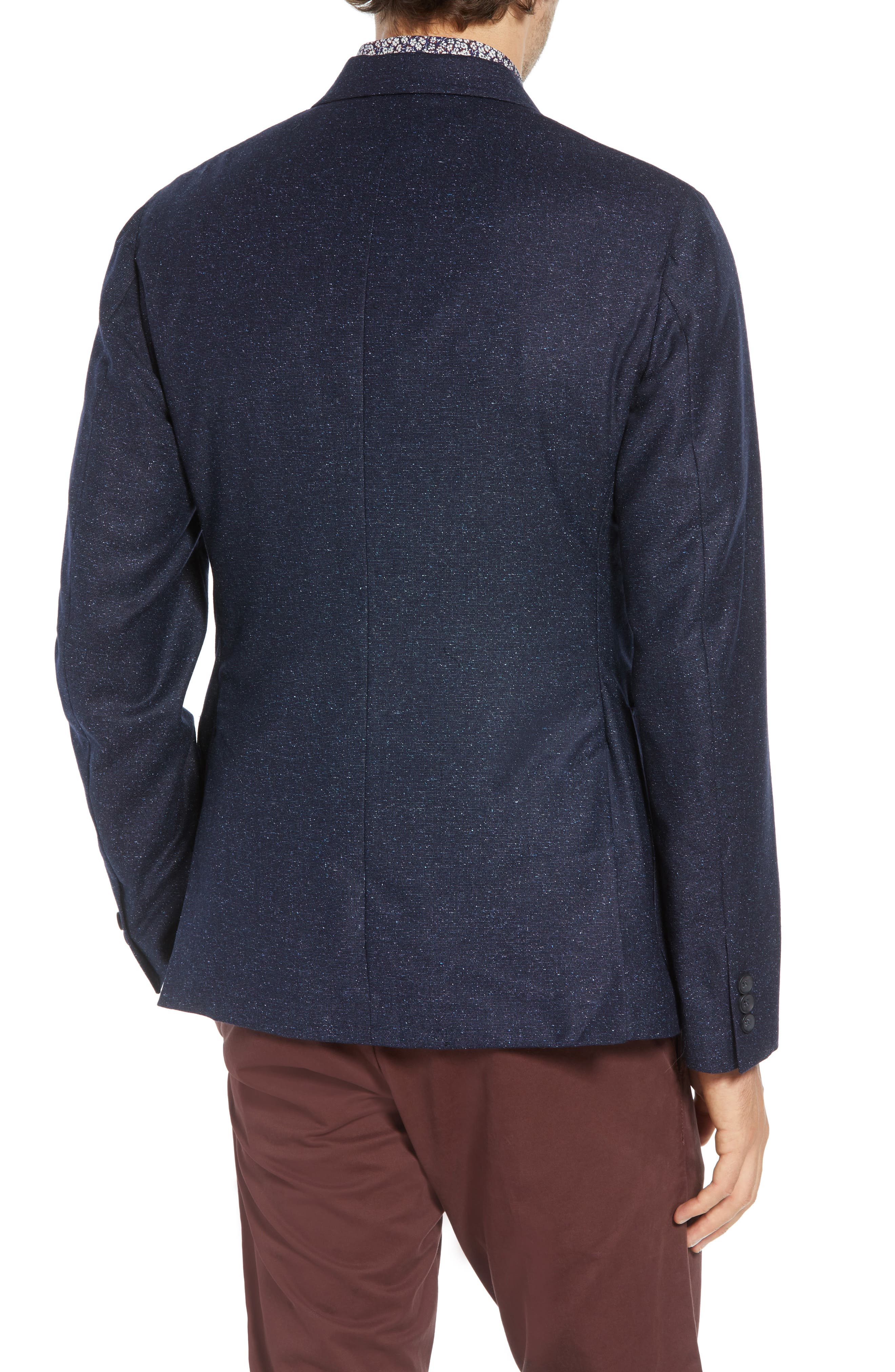 Extra Trim Fit Wool & Silk Soft Coat,                             Alternate thumbnail 2, color,                             NAVY