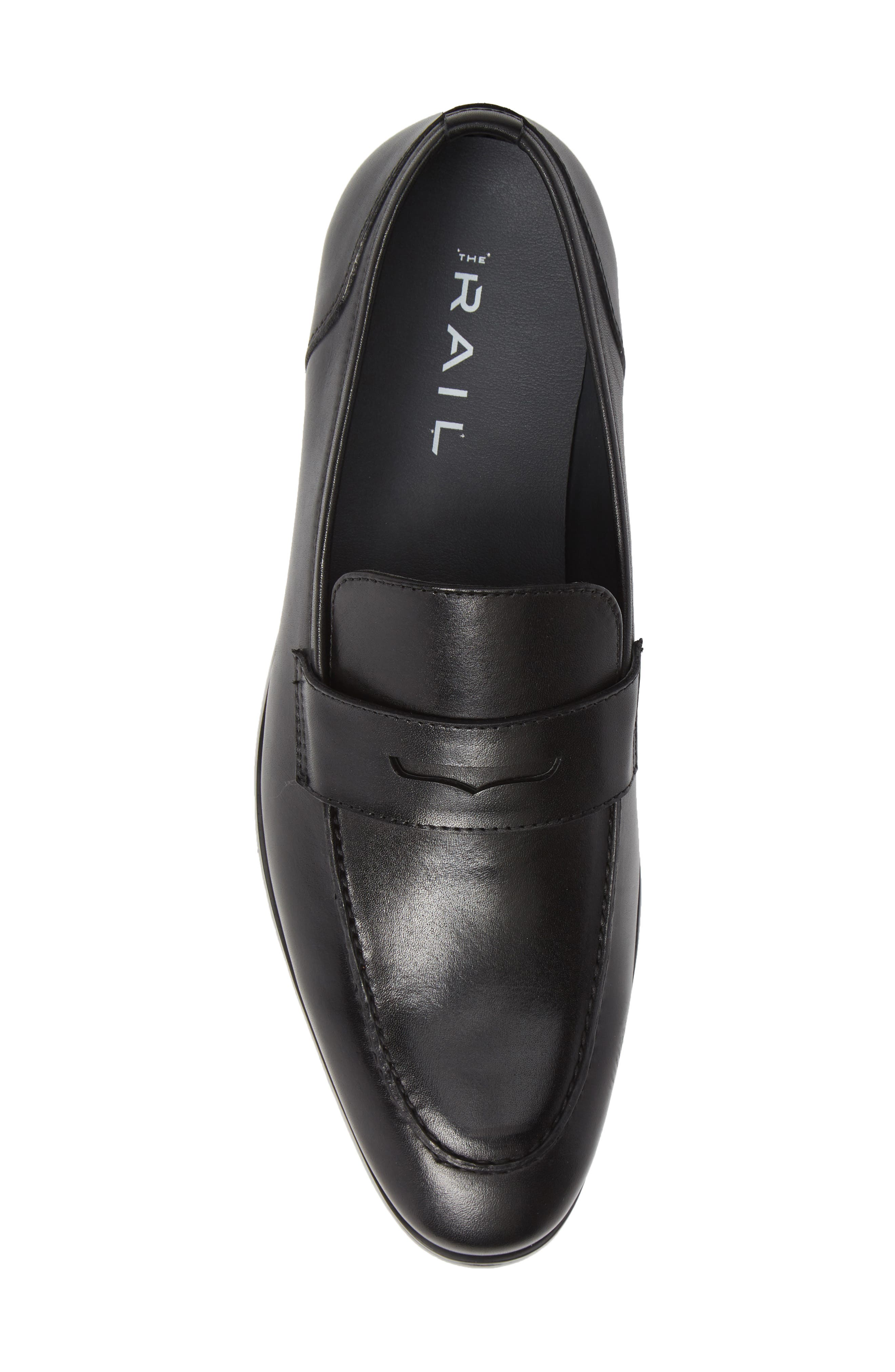 Denio Apron Toe Penny Loafer,                             Alternate thumbnail 5, color,                             BLACK LEATHER