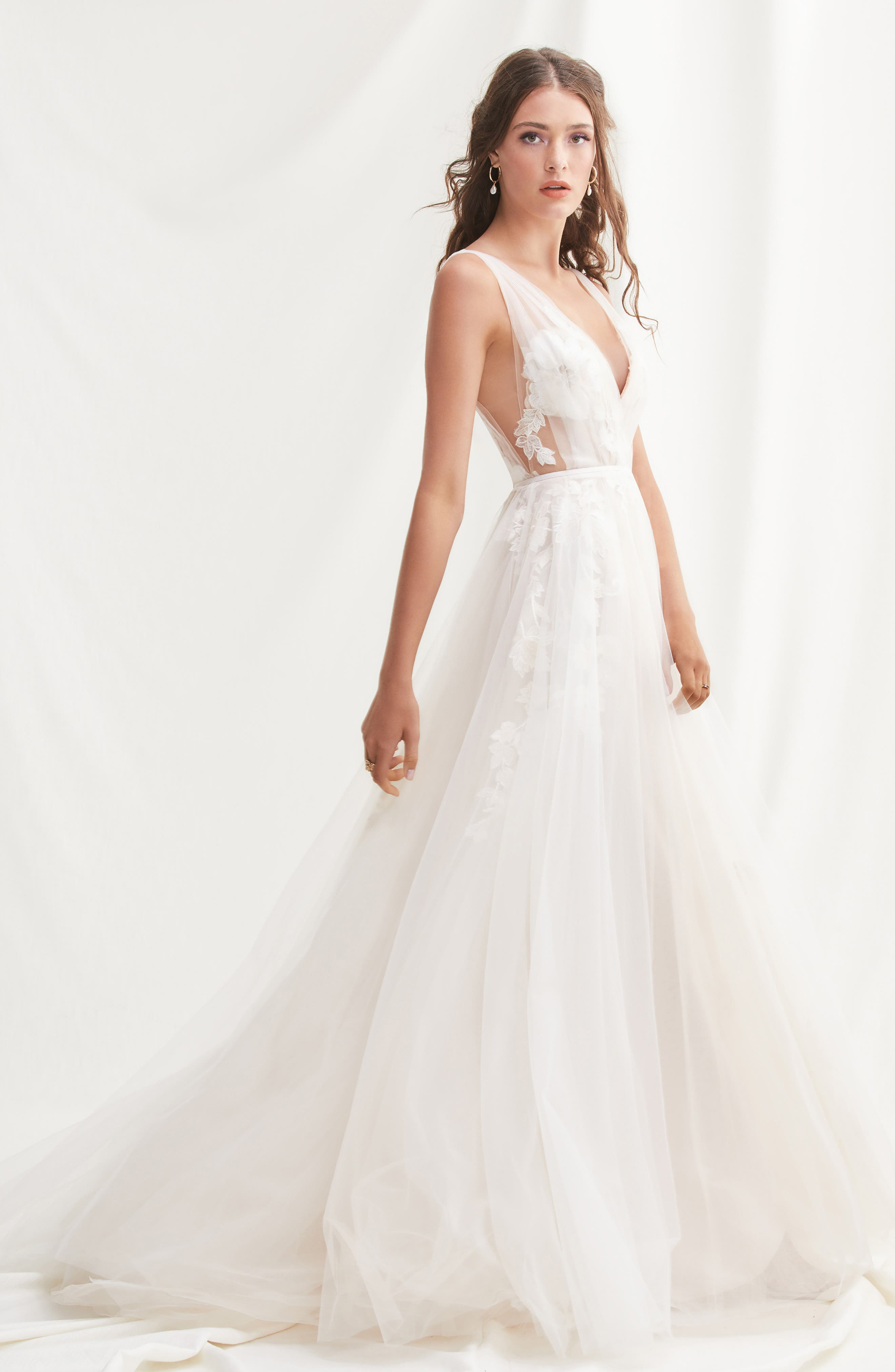 Lanie Floral Appliqué & Tulle A-Line Wedding Dress, Main, color, 900