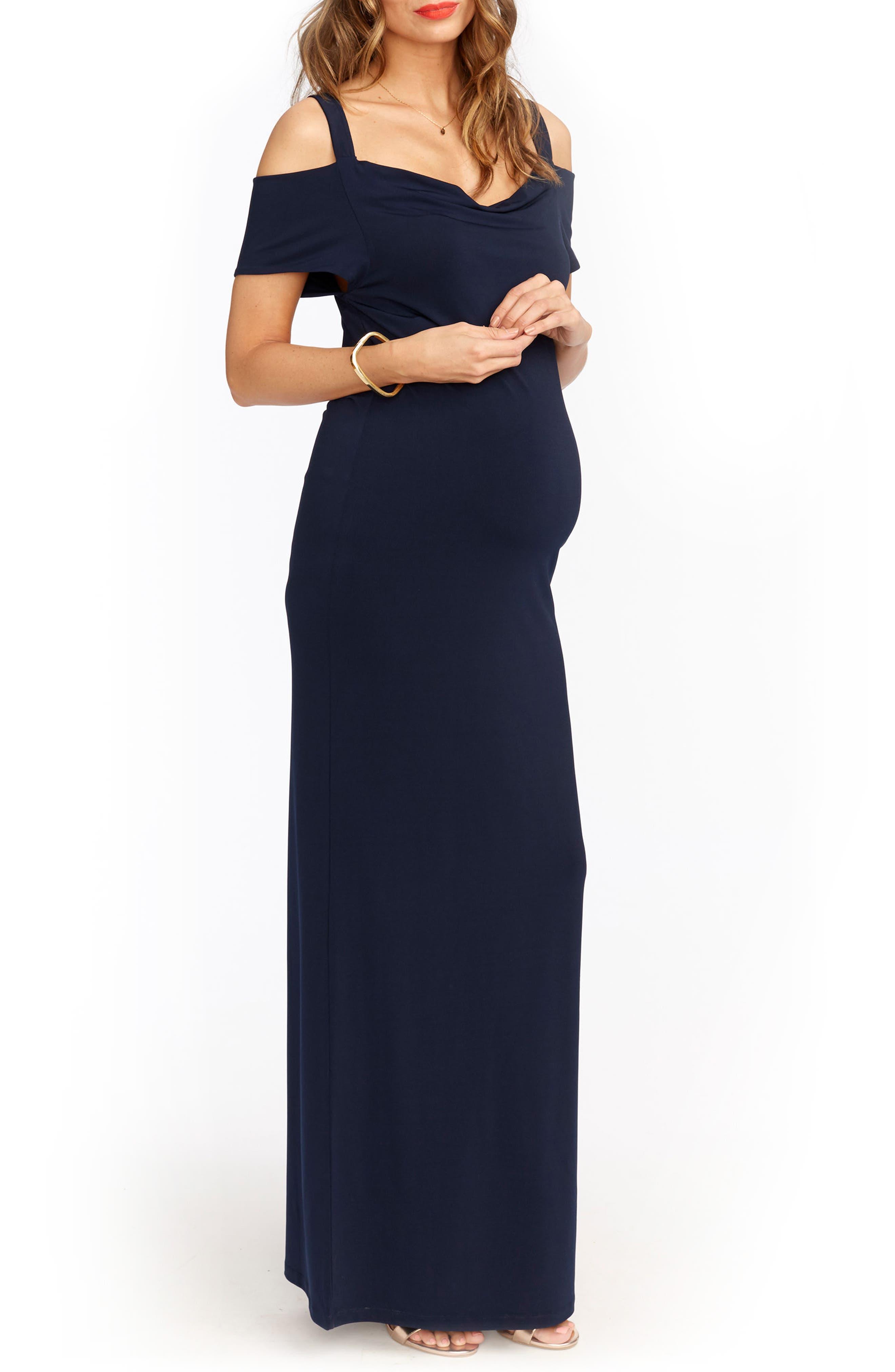 Jillian Cold Shoulder Maternity Maxi Dress,                             Alternate thumbnail 3, color,