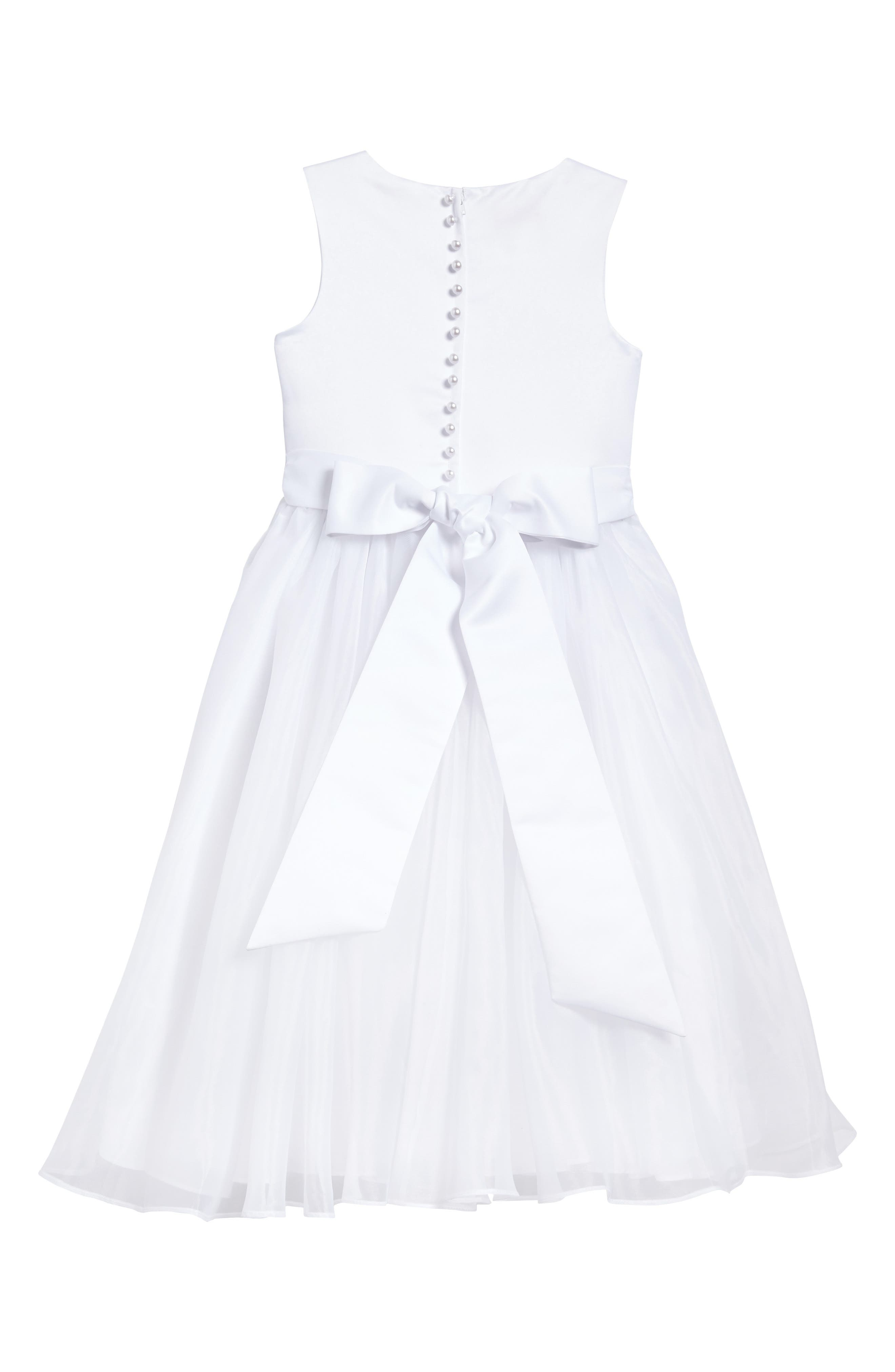 Beaded Daisy Bodice First Communion Dress,                             Alternate thumbnail 2, color,                             100