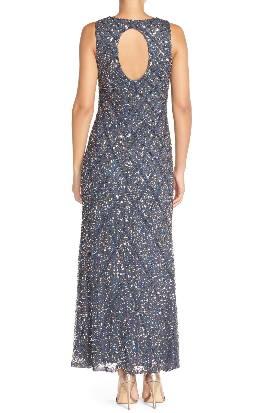 Embellished Mesh Gown,                             Alternate thumbnail 4, color,