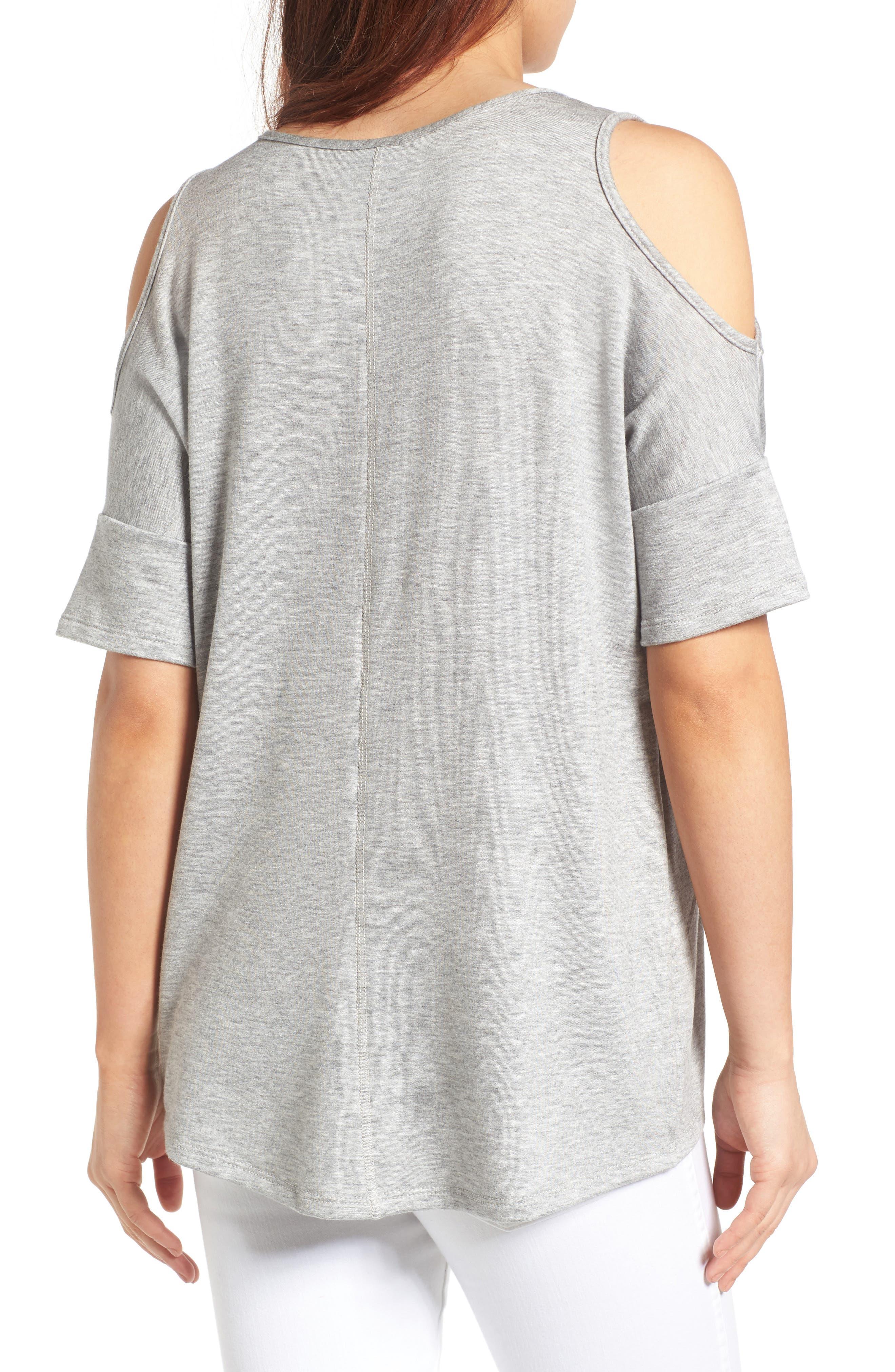 High/Low Cold Shoulder Sweatshirt,                             Alternate thumbnail 5, color,