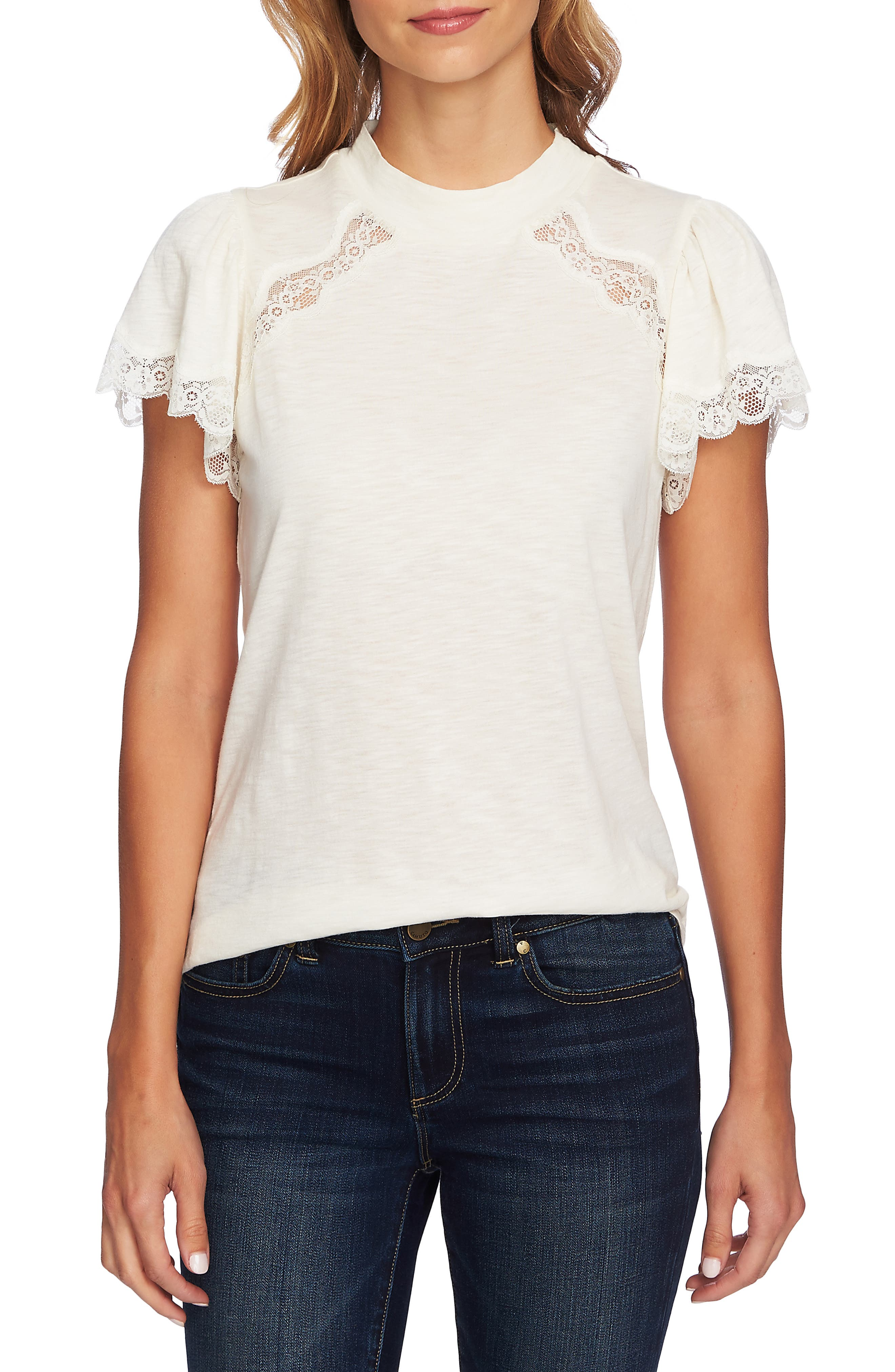 Mock Neck Knit & Lace Top,                         Main,                         color, ANTIQUE WHITE