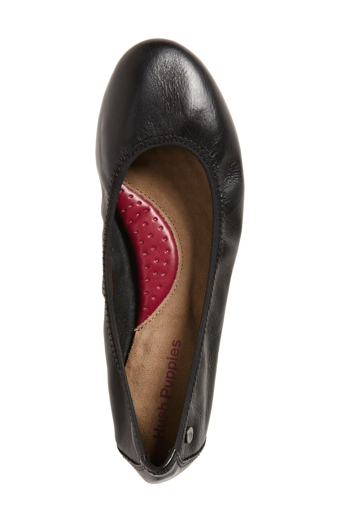 HUSH PUPPIES<SUP>®</SUP>,                             'Chaste' Ballet Flat,                             Alternate thumbnail 3, color,                             BLACK LEATHER