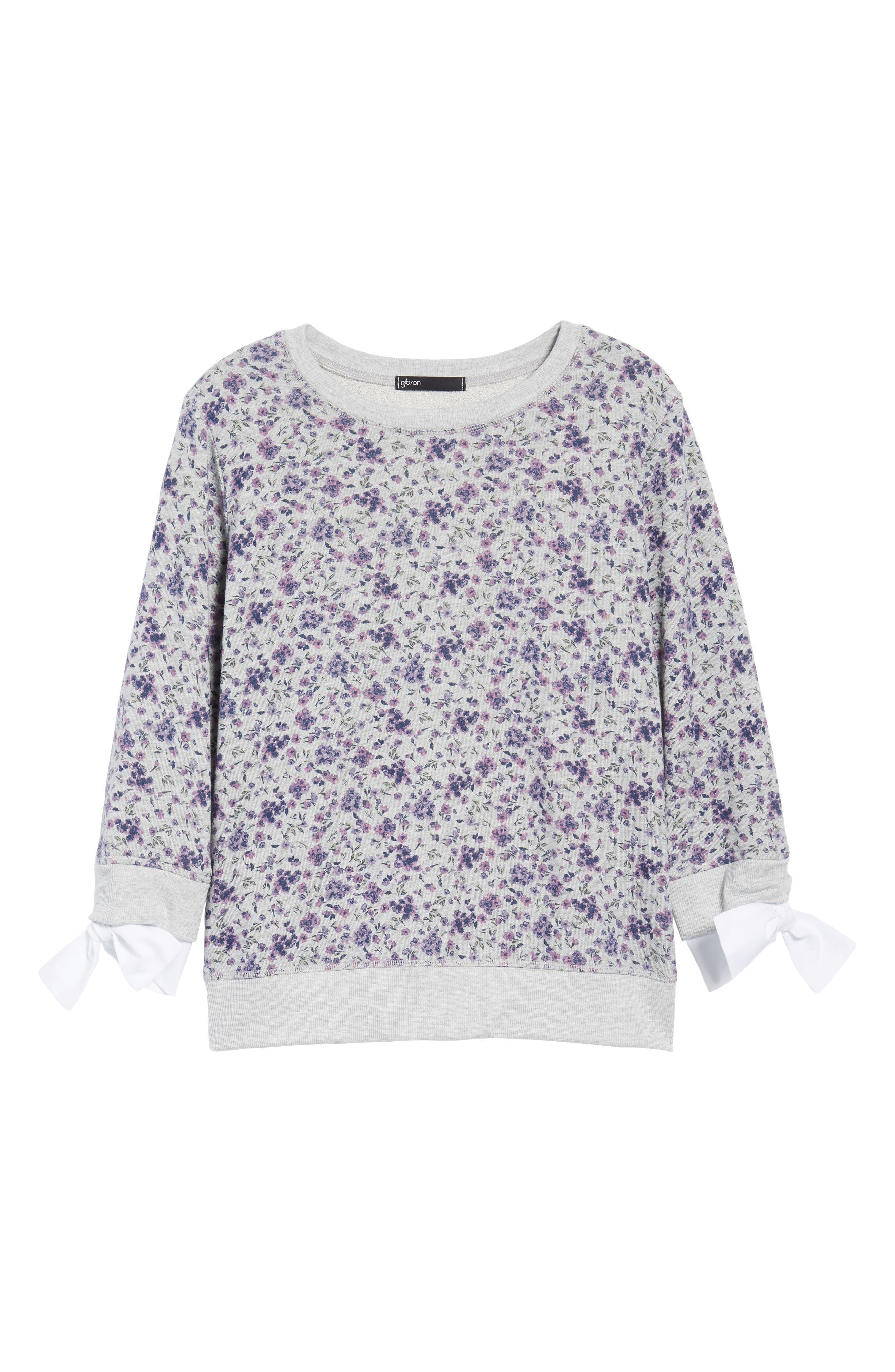 Poplin Cuff Sweatshirt,                             Alternate thumbnail 7, color,                             GREY FLORAL W/ WHITE POPLIN