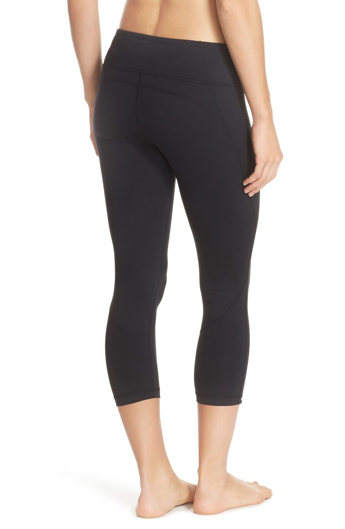 Live-In Keep It Cool Crop Leggings,                             Alternate thumbnail 9, color,                             001