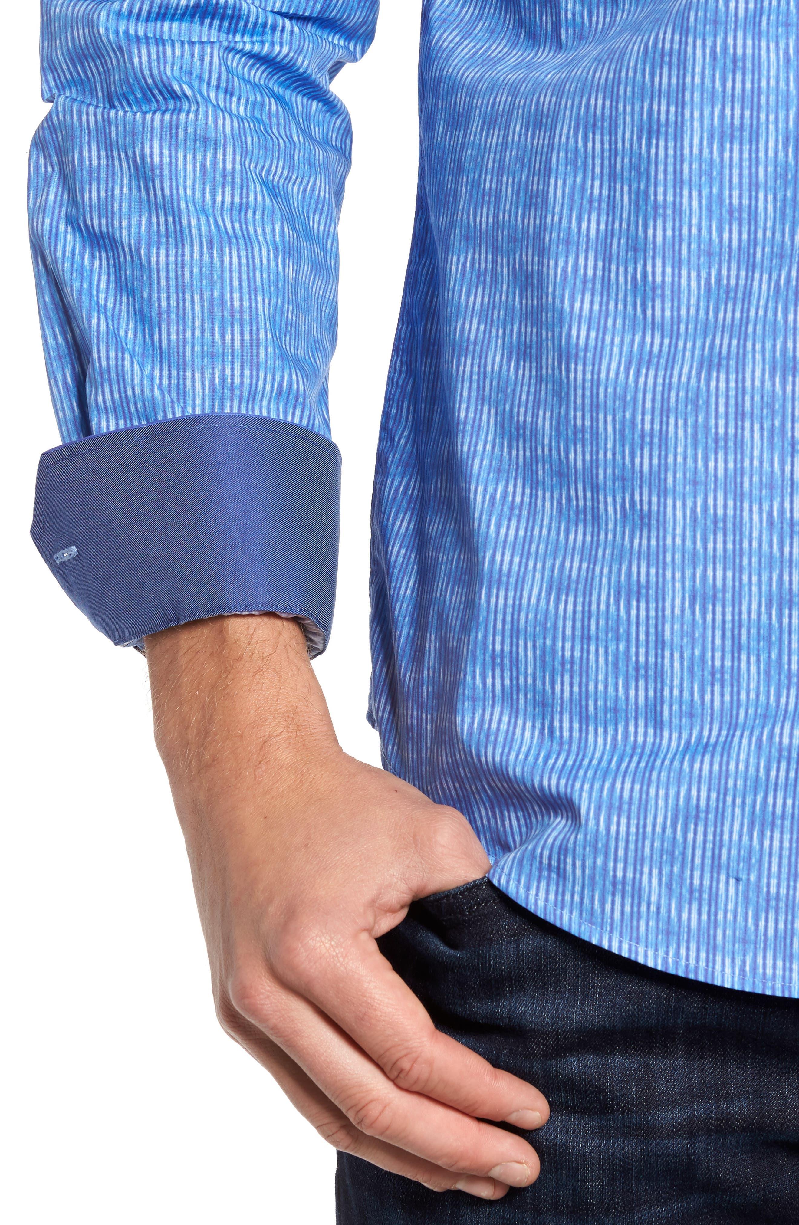 Shaped Fit Stripe Sport Shirt,                             Alternate thumbnail 4, color,                             422