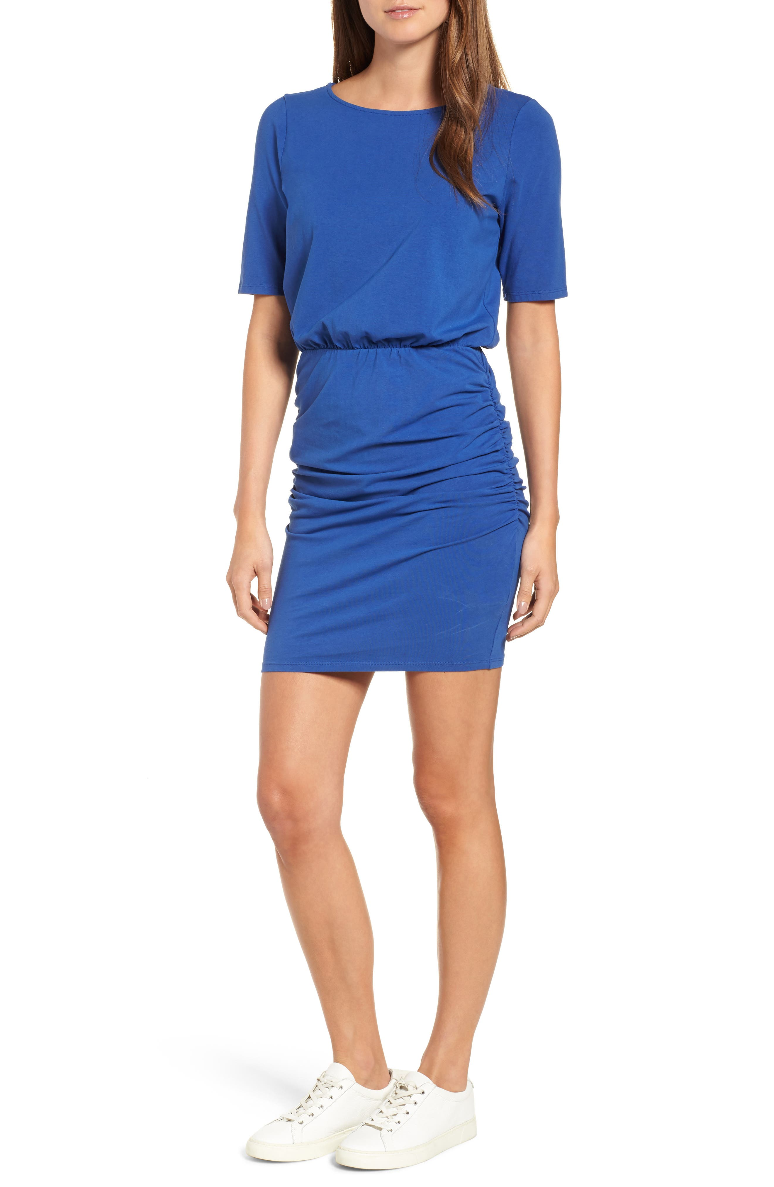 Michael Stars Ruched Body-Con Dress, Blue