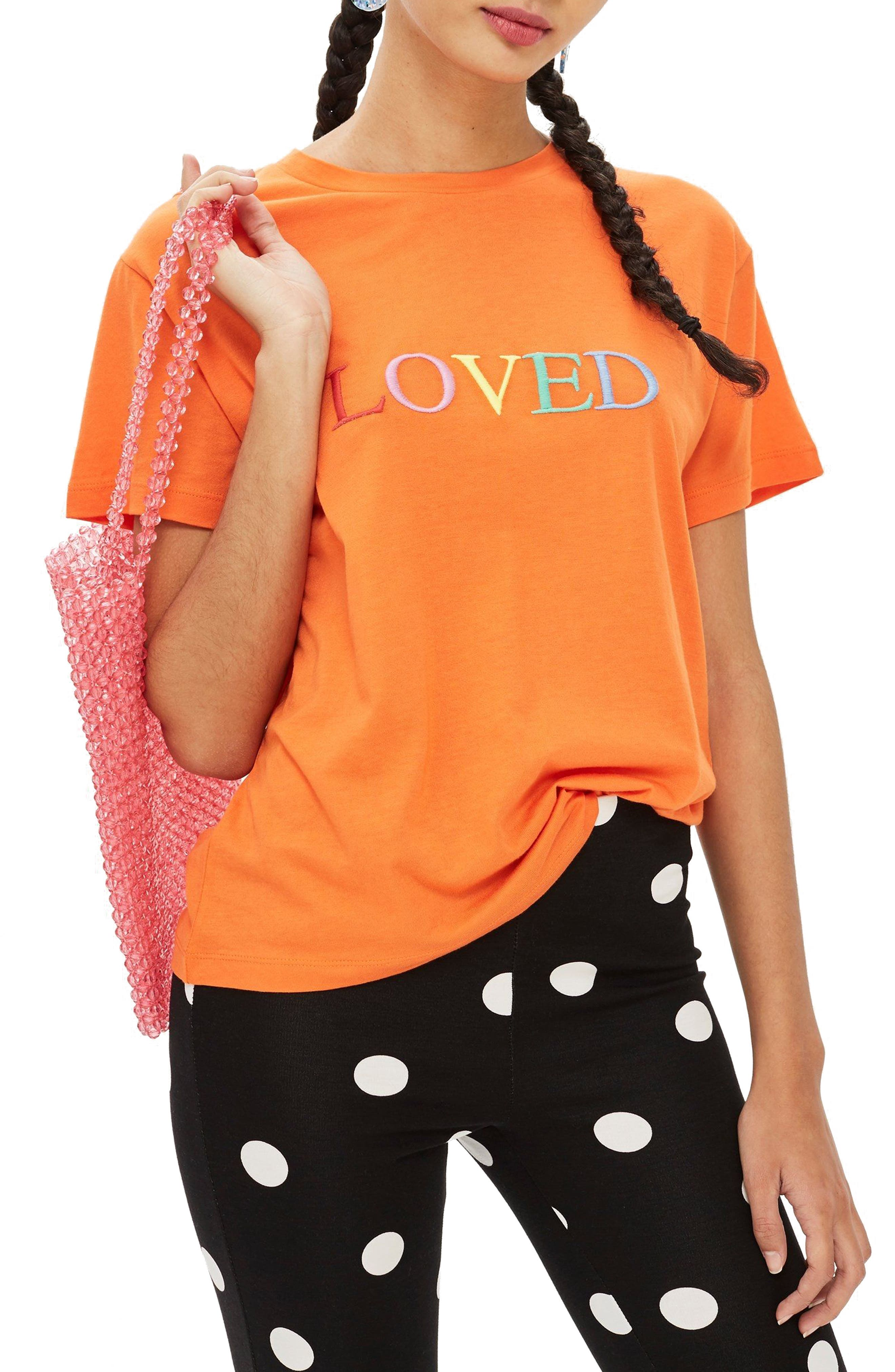 Loved Embroidered Tee,                         Main,                         color, ORANGE