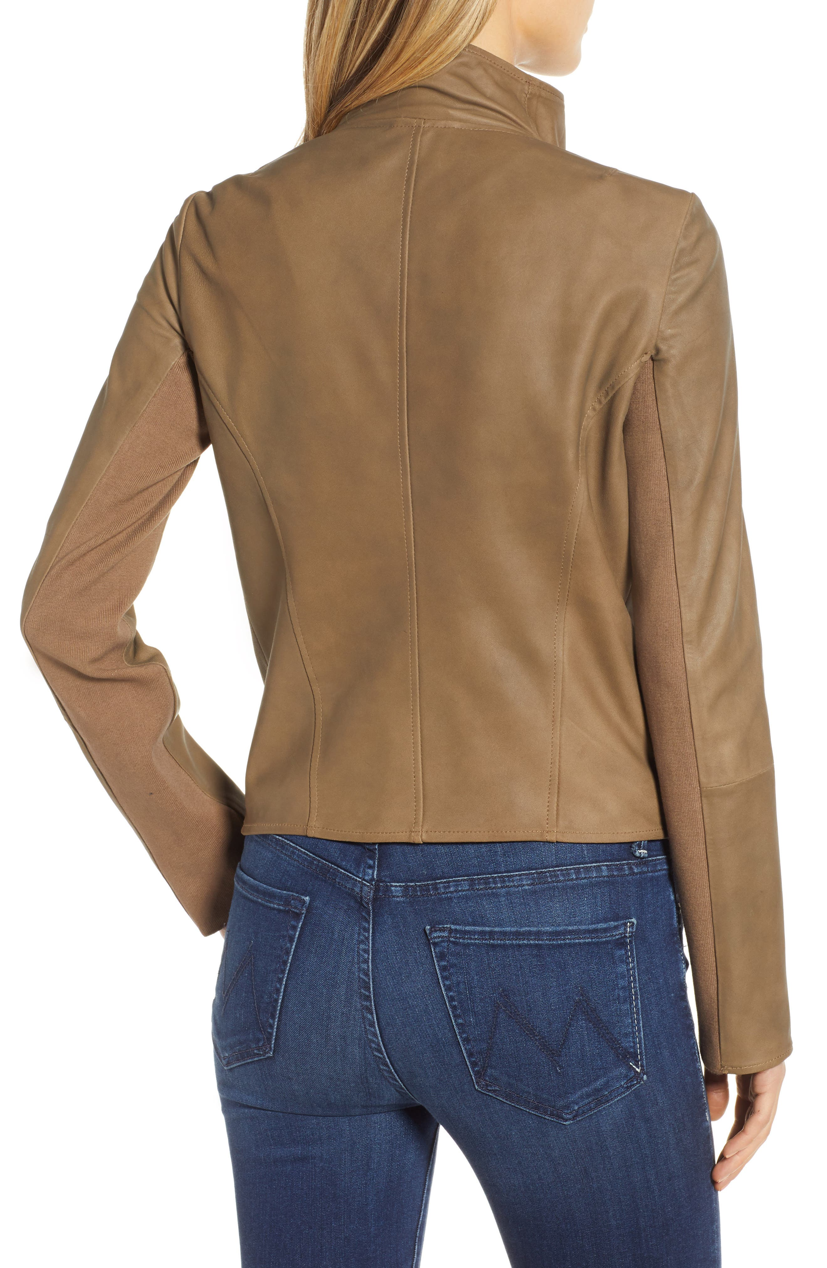 Asymmetrical Zip Front Leather Cascade Jacket,                             Alternate thumbnail 2, color,                             TAUPE