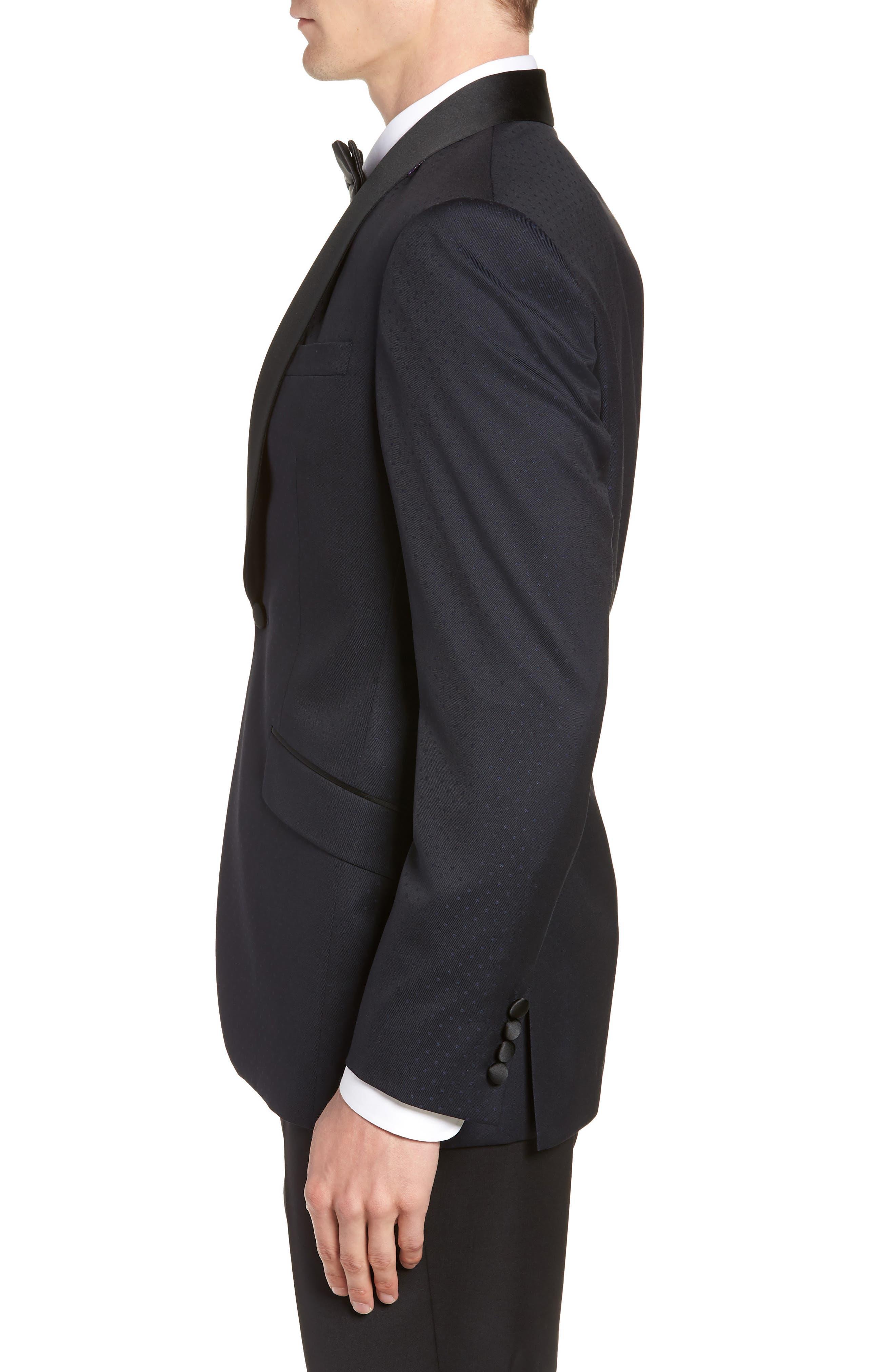 Josh Trim Fit Shawl Collar Wool Dinner Jacket,                             Alternate thumbnail 3, color,                             NAVY