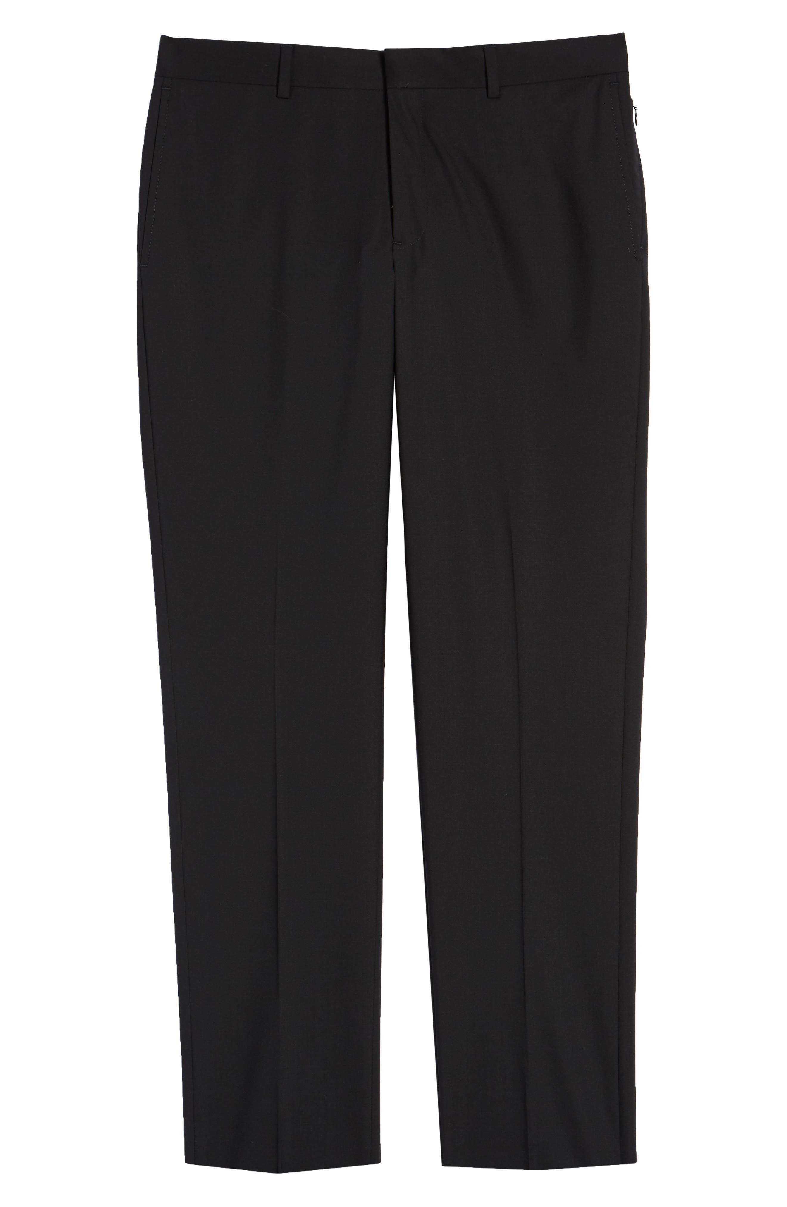 NORDSTROM MEN'S SHOP,                             Tech-Smart Trim Fit Stretch Wool Travel Trousers,                             Alternate thumbnail 6, color,                             BLACK