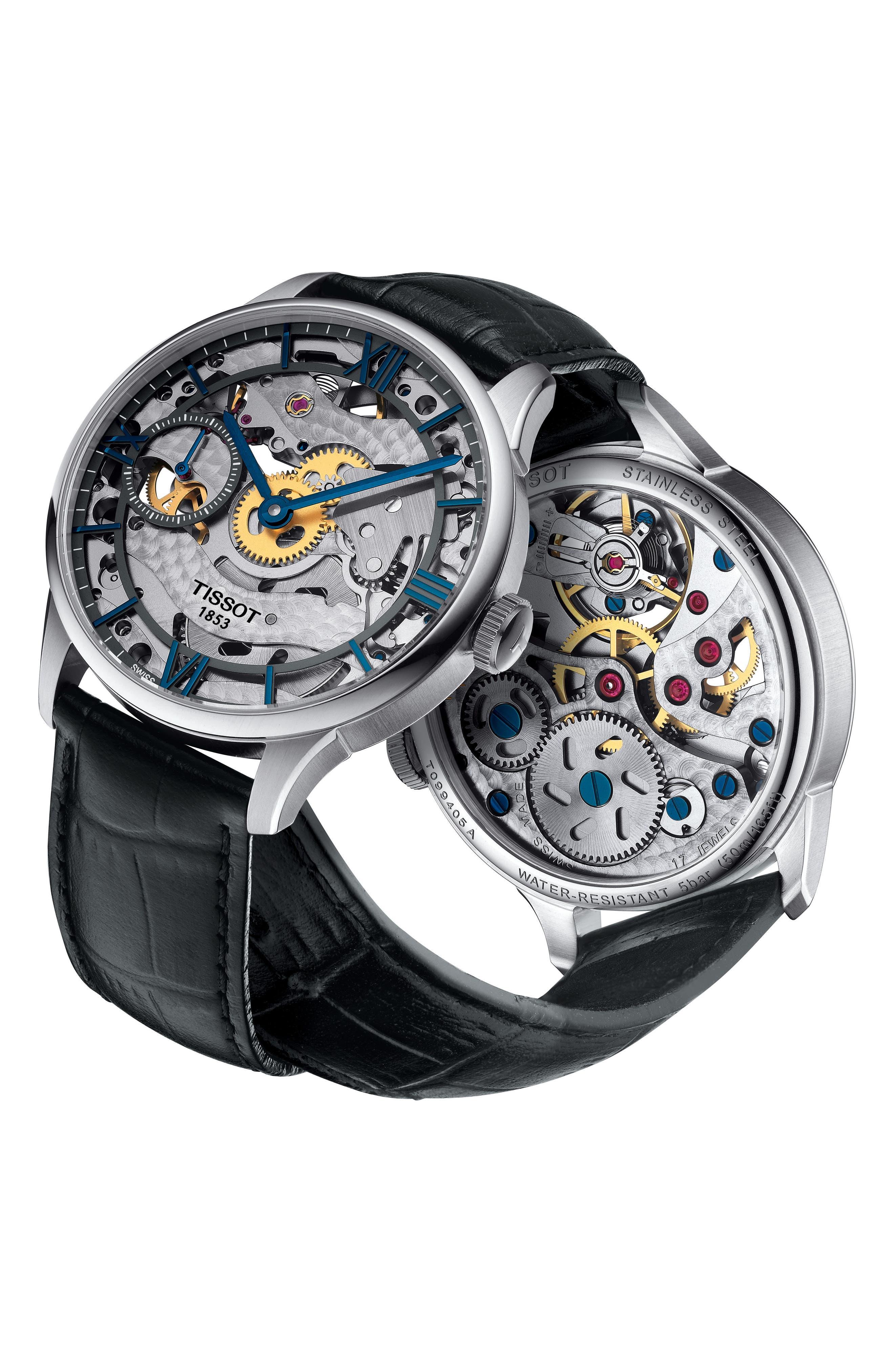 T-Complication Squellette Mechanical Watch, 42mm,                             Alternate thumbnail 5, color,                             BLACK/ SILVER
