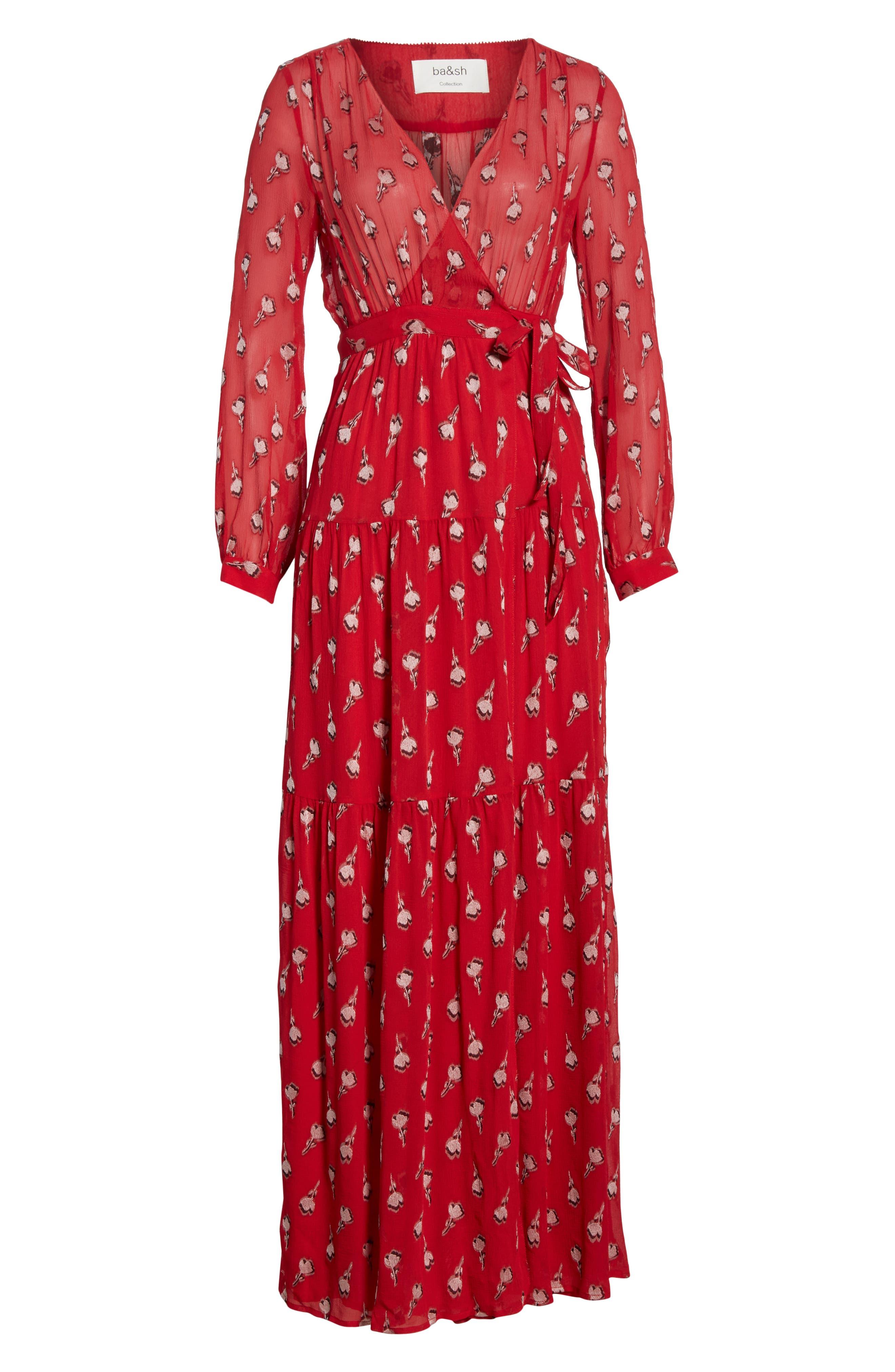 Madona Floral Surplice Silk Blend Chiffon Maxi Dress,                             Alternate thumbnail 6, color,                             600