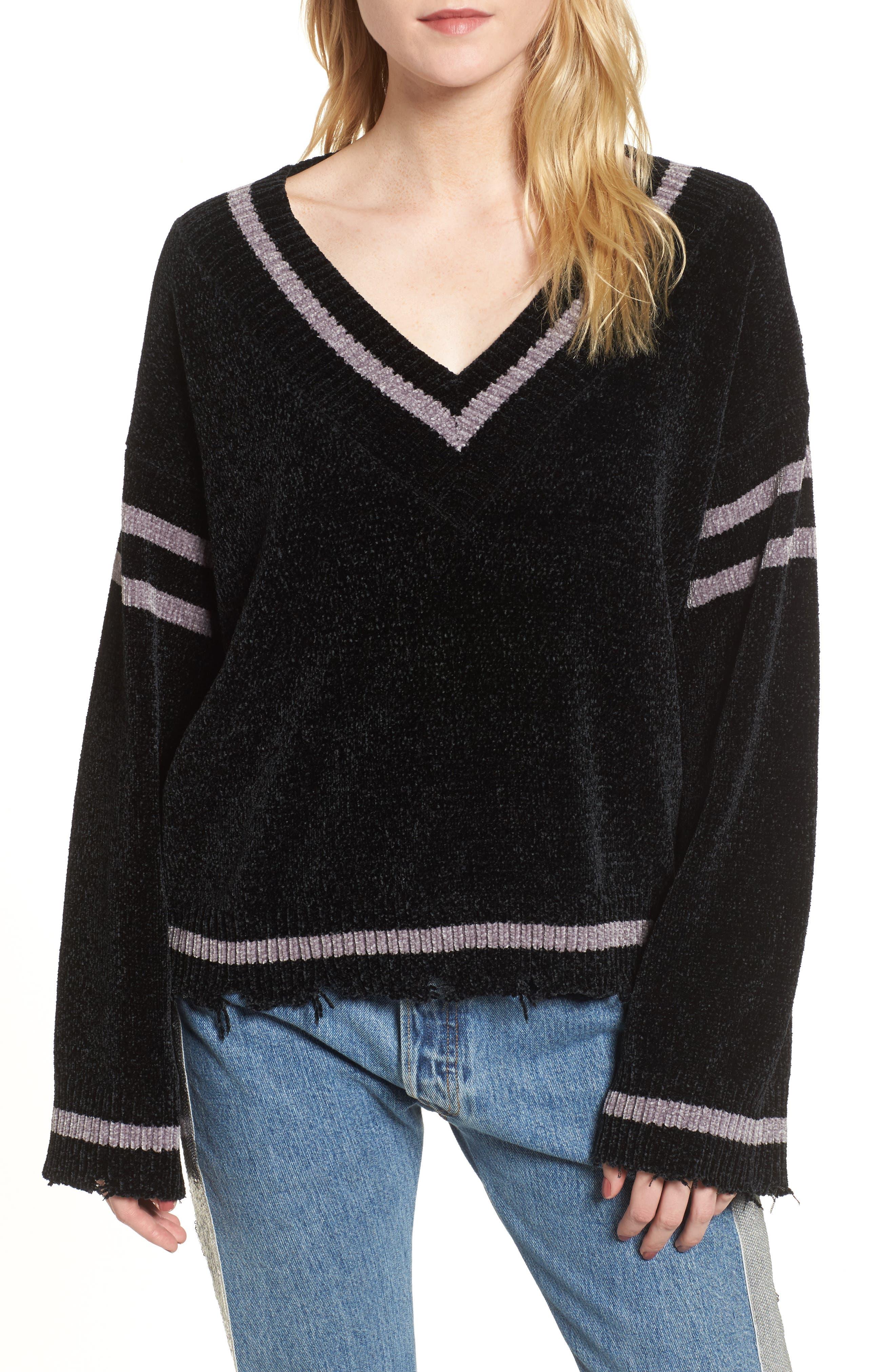 Oversize V-Neck Sweater,                             Main thumbnail 1, color,                             BLACK/ MED. HEATHER GREY