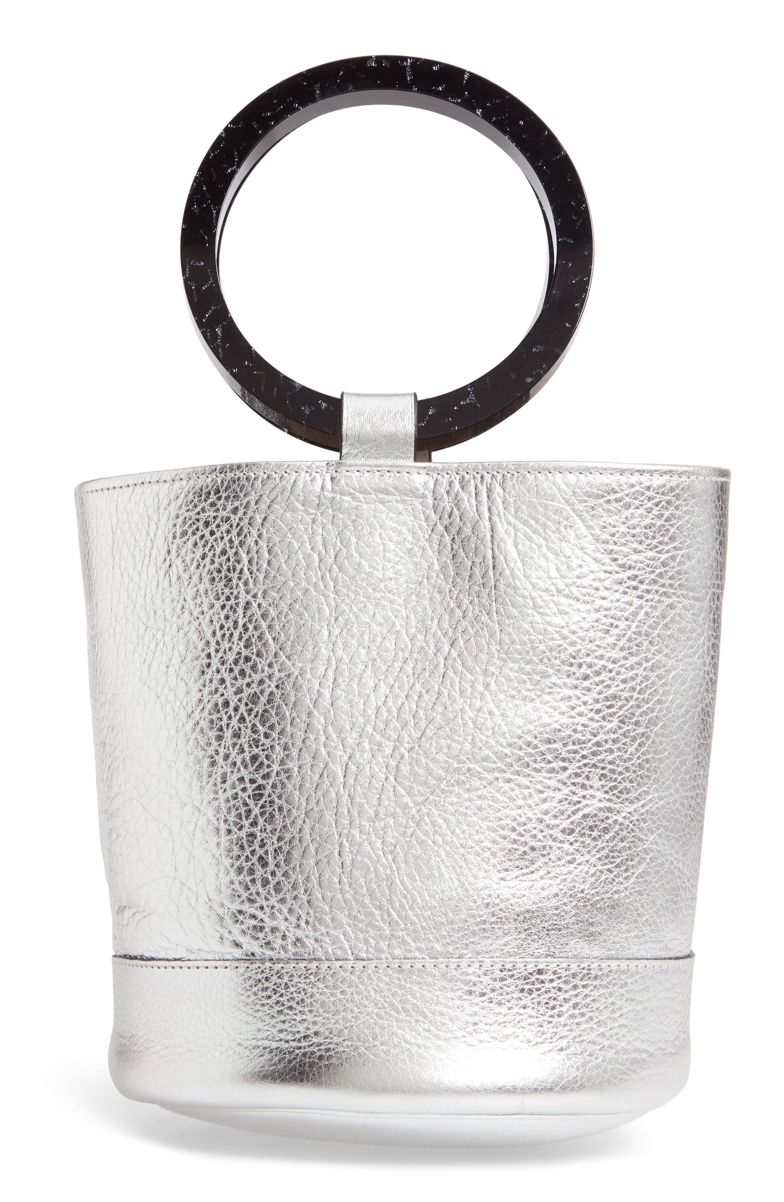 Bonsai 20 Pebbled Leather Bucket Bag,                             Alternate thumbnail 3, color,                             SILVER