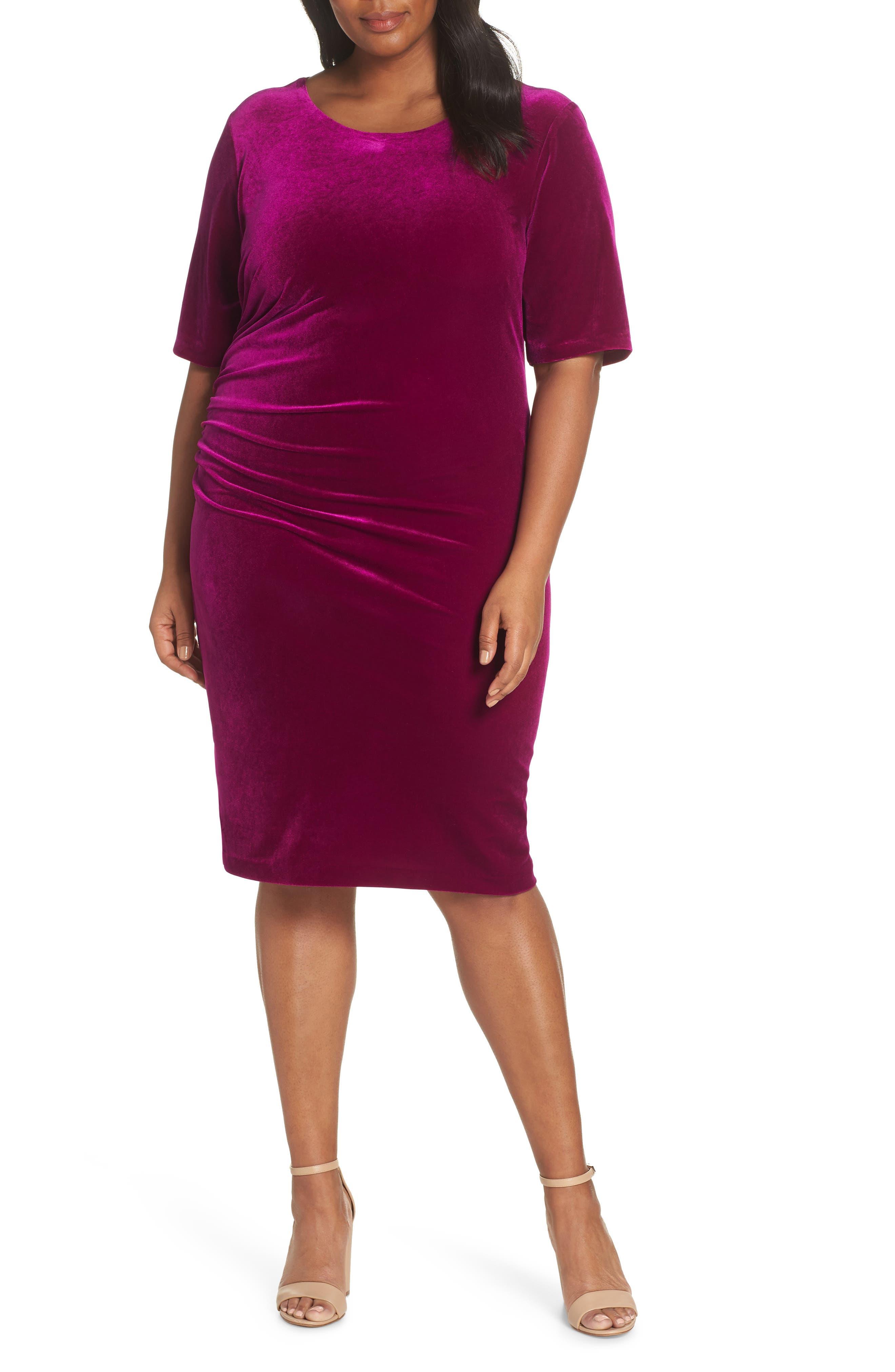 Velvet Side Ruche Body-Con Dress,                         Main,                         color, FUSCHIA