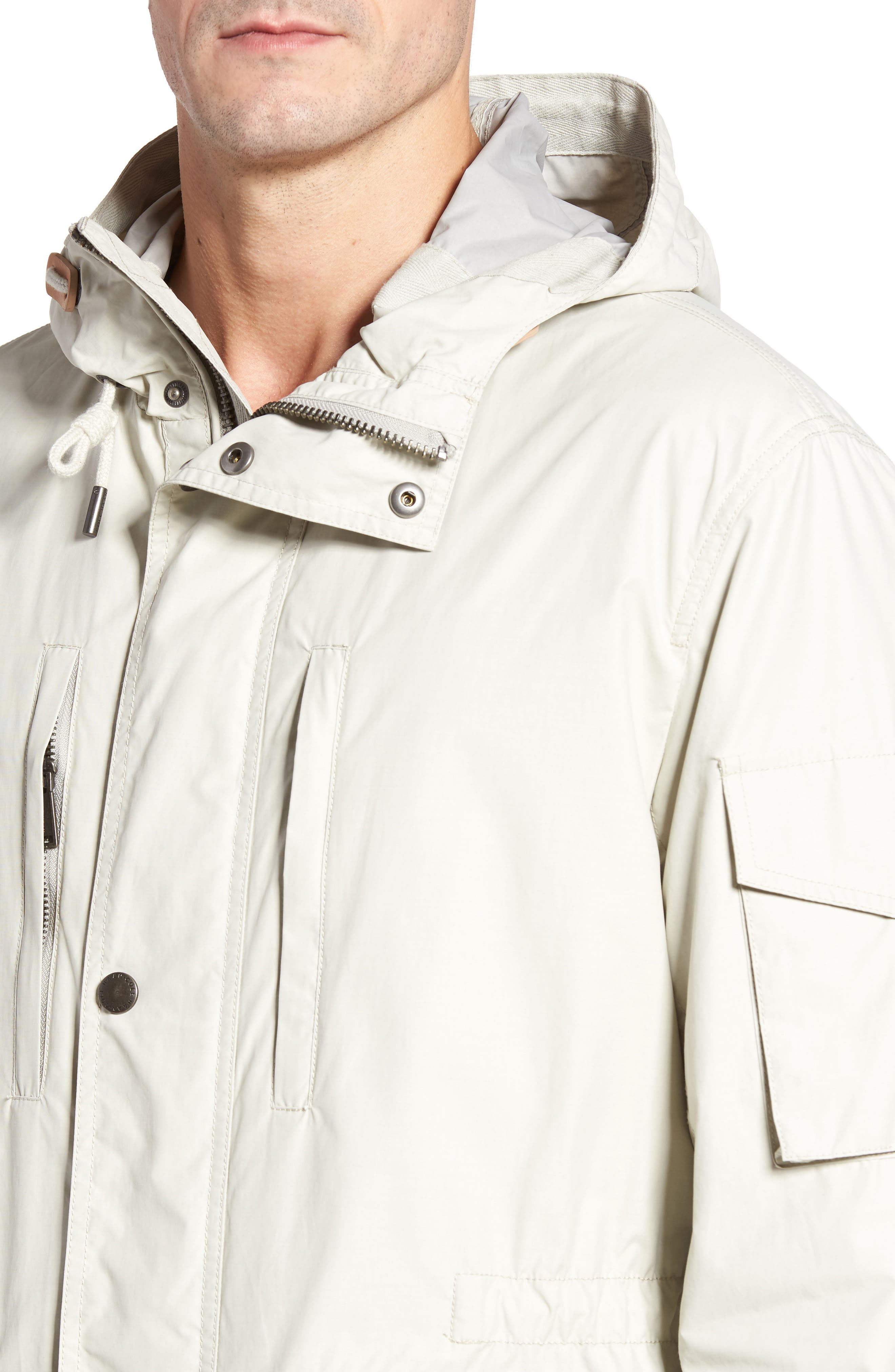 COLE HAAN,                             Water Repellent Hooded Jacket,                             Alternate thumbnail 4, color,                             STONE