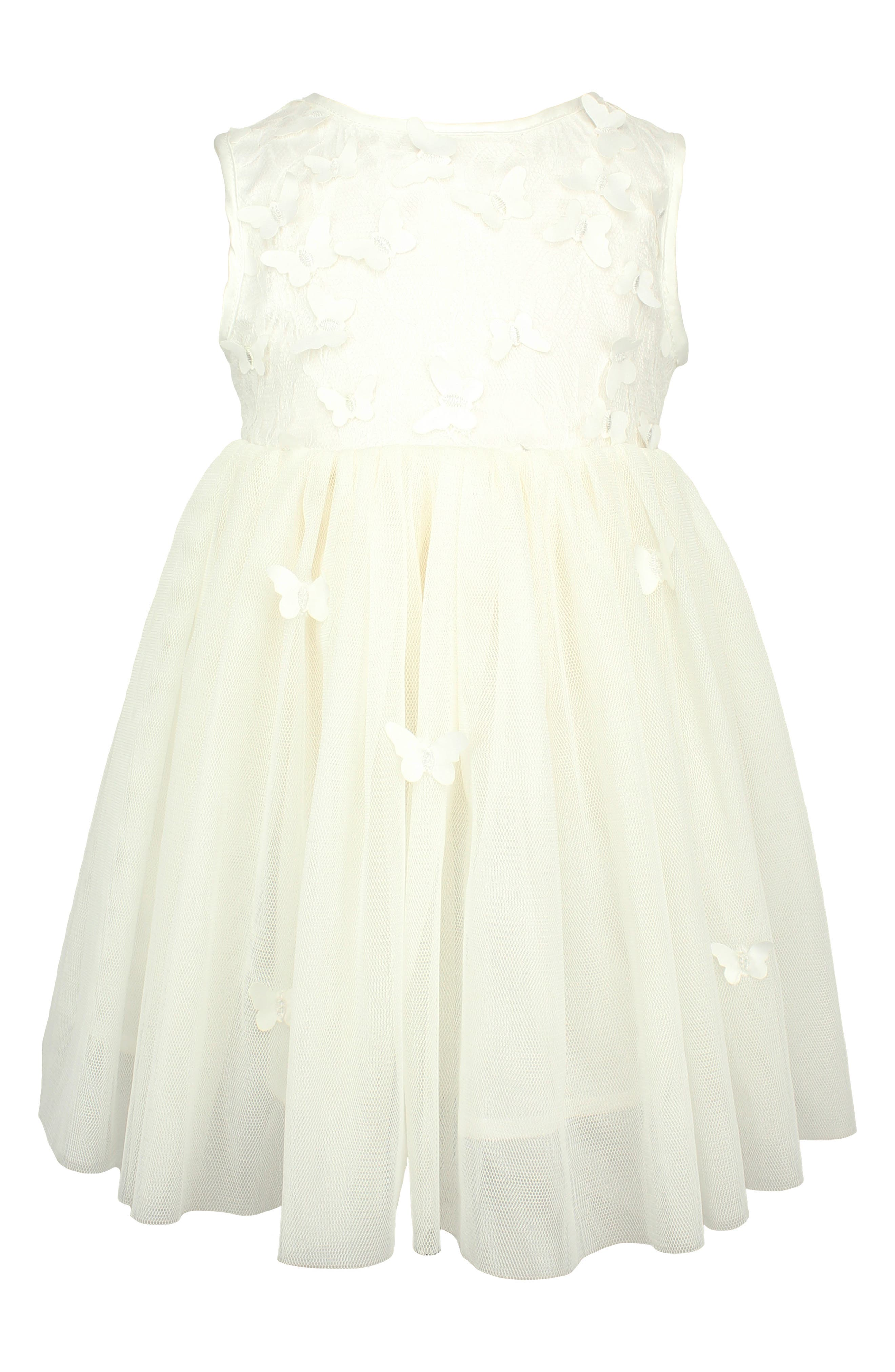 Butterfly Tulle Dress,                         Main,                         color, WHITE