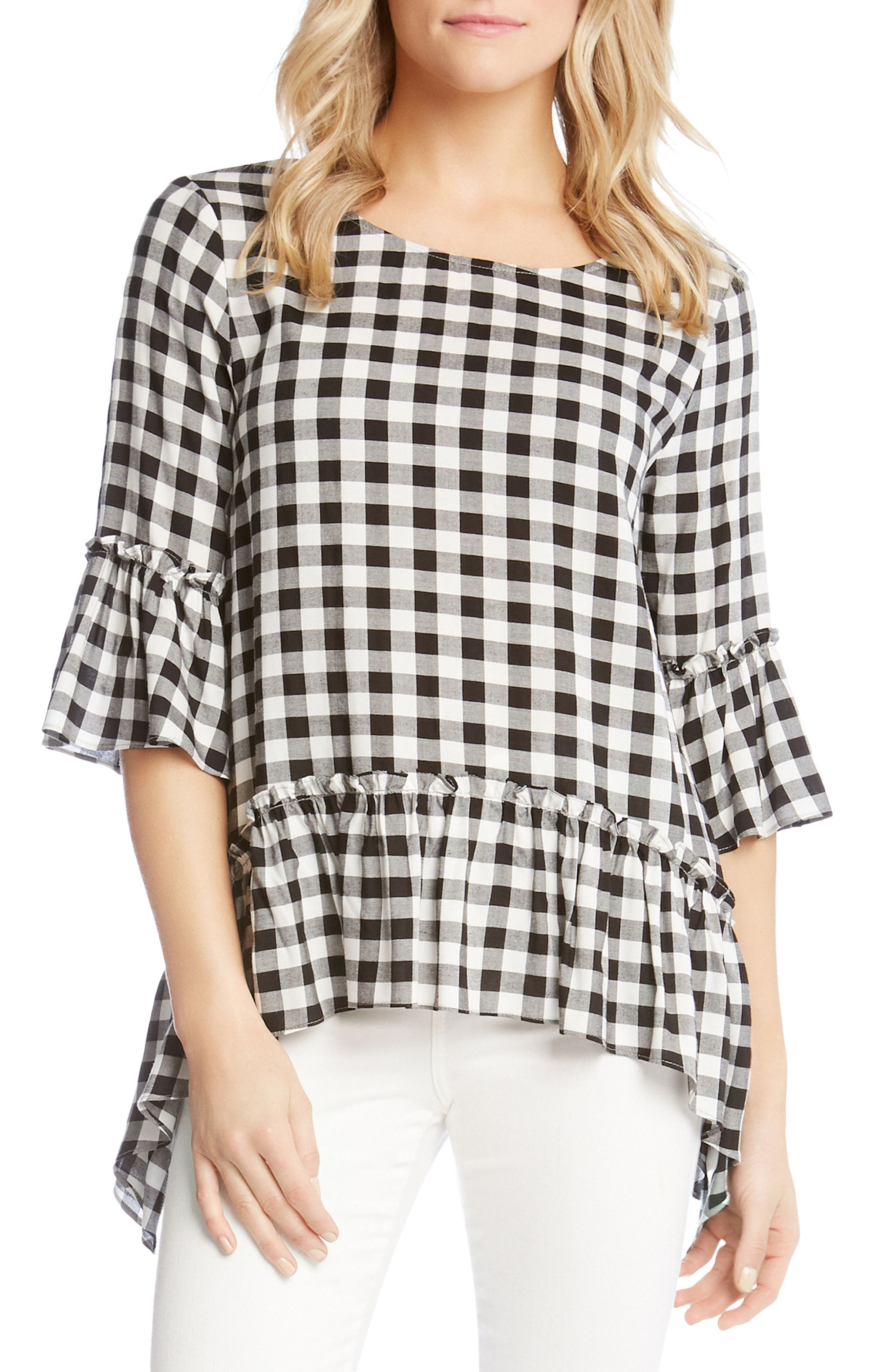 Gingham Check Ruffle Hem Top,                             Main thumbnail 1, color,                             010