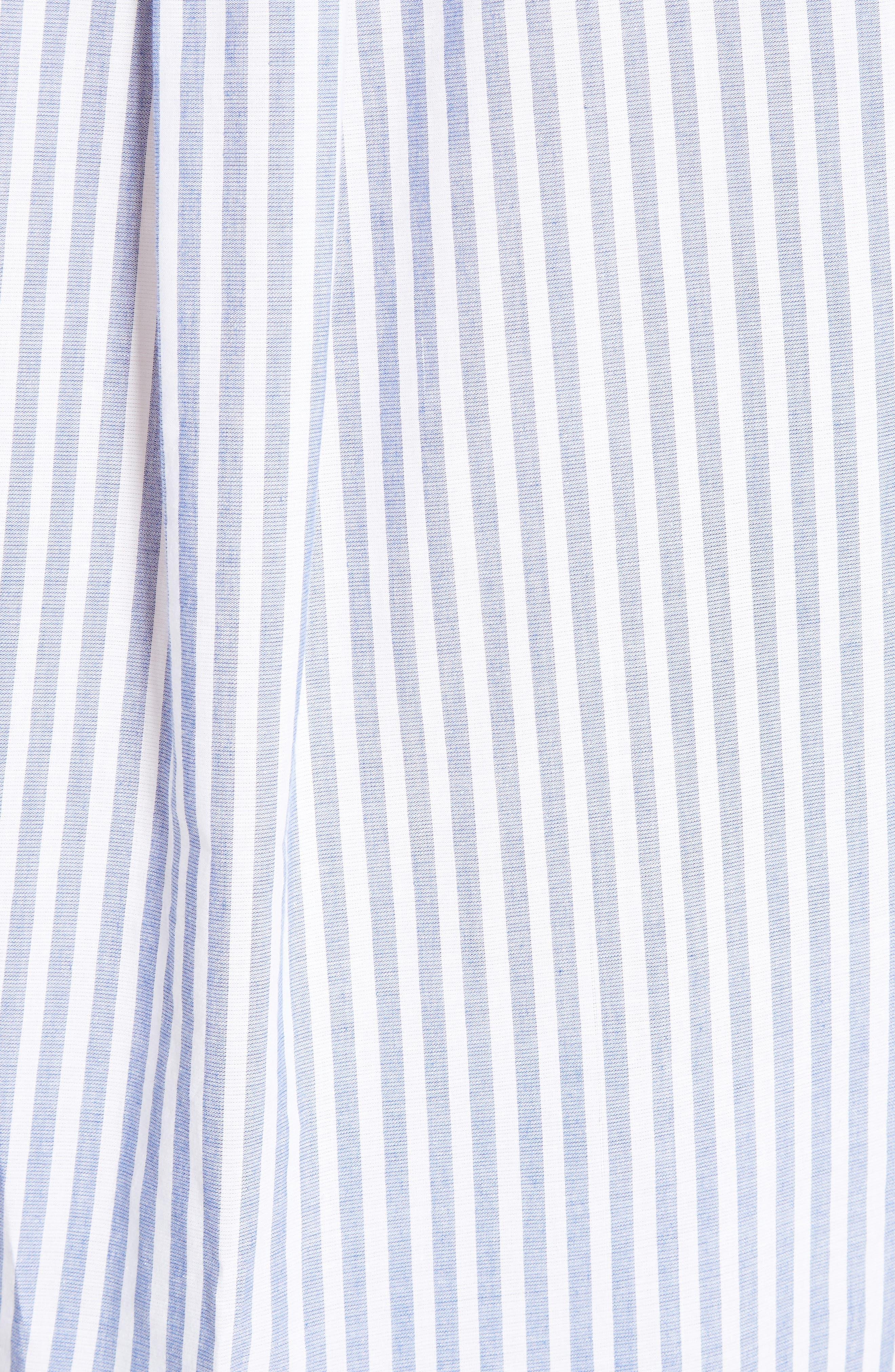 Posy Stripe Bib Boyfriend Shirt,                             Alternate thumbnail 5, color,                             456