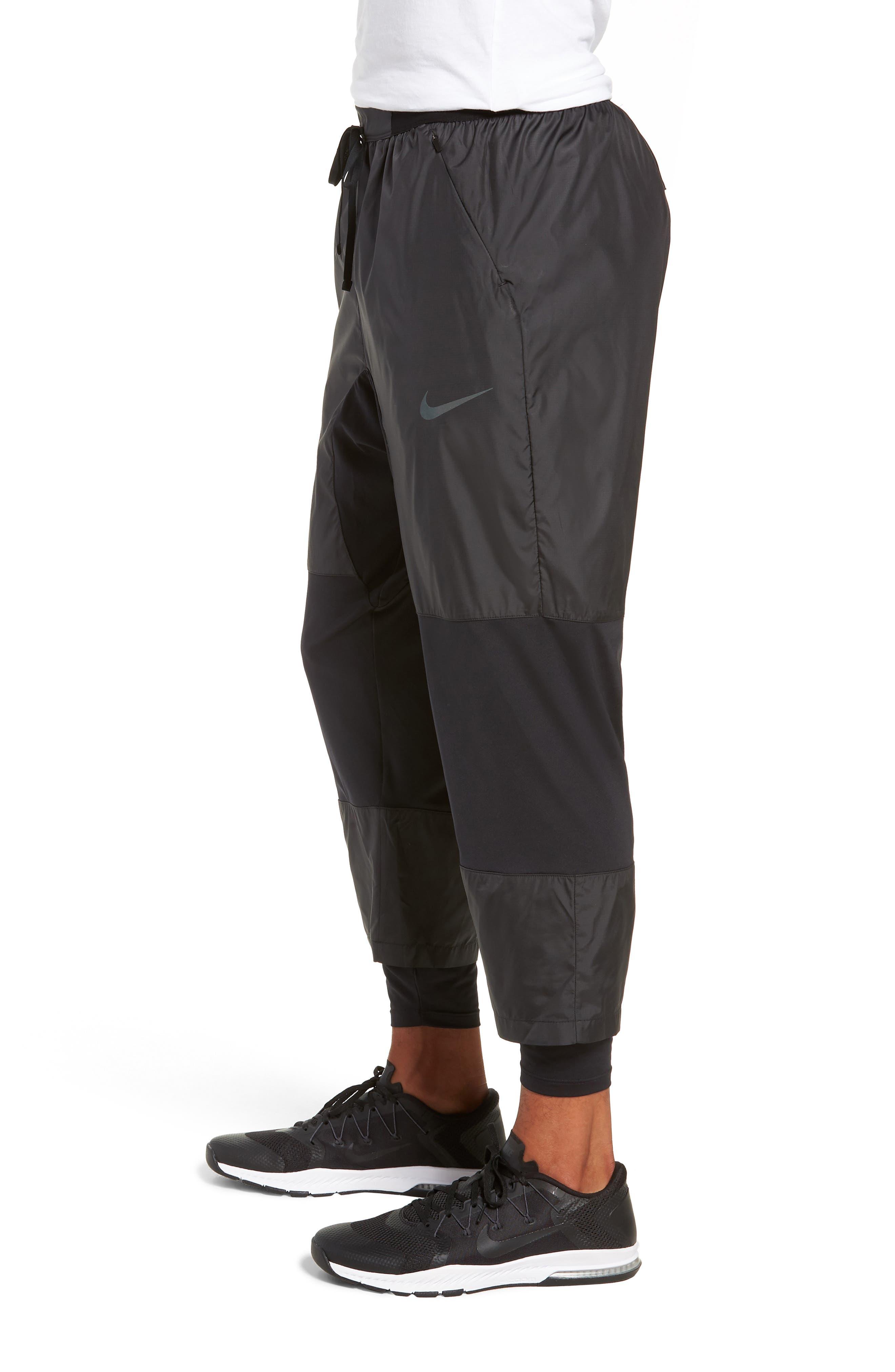 Dry Division Tech Running Pants,                             Alternate thumbnail 3, color,                             BLACK/ BLACK