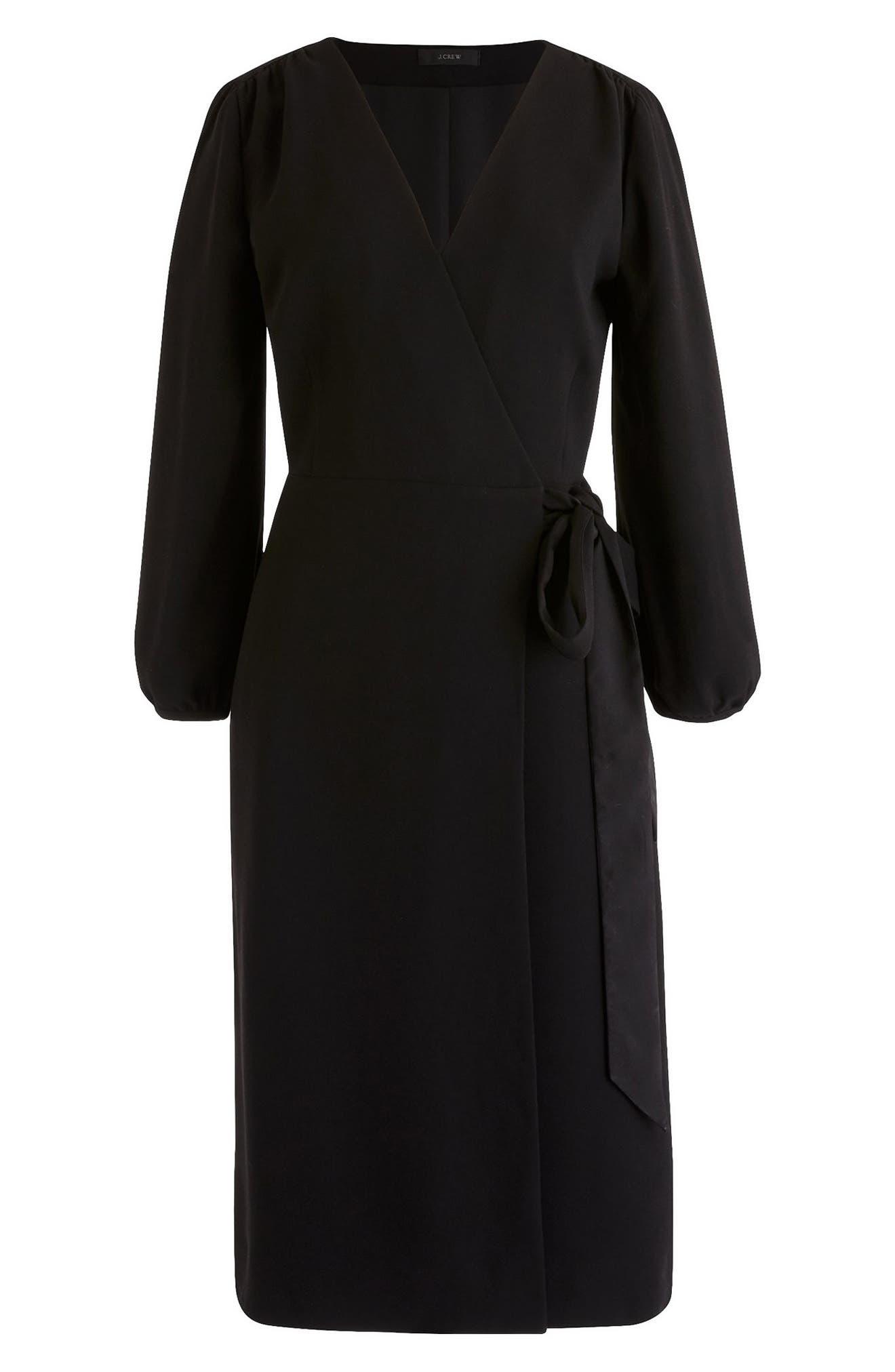 J.CREW,                             365 Crepe Wrap Dress,                             Alternate thumbnail 2, color,                             001