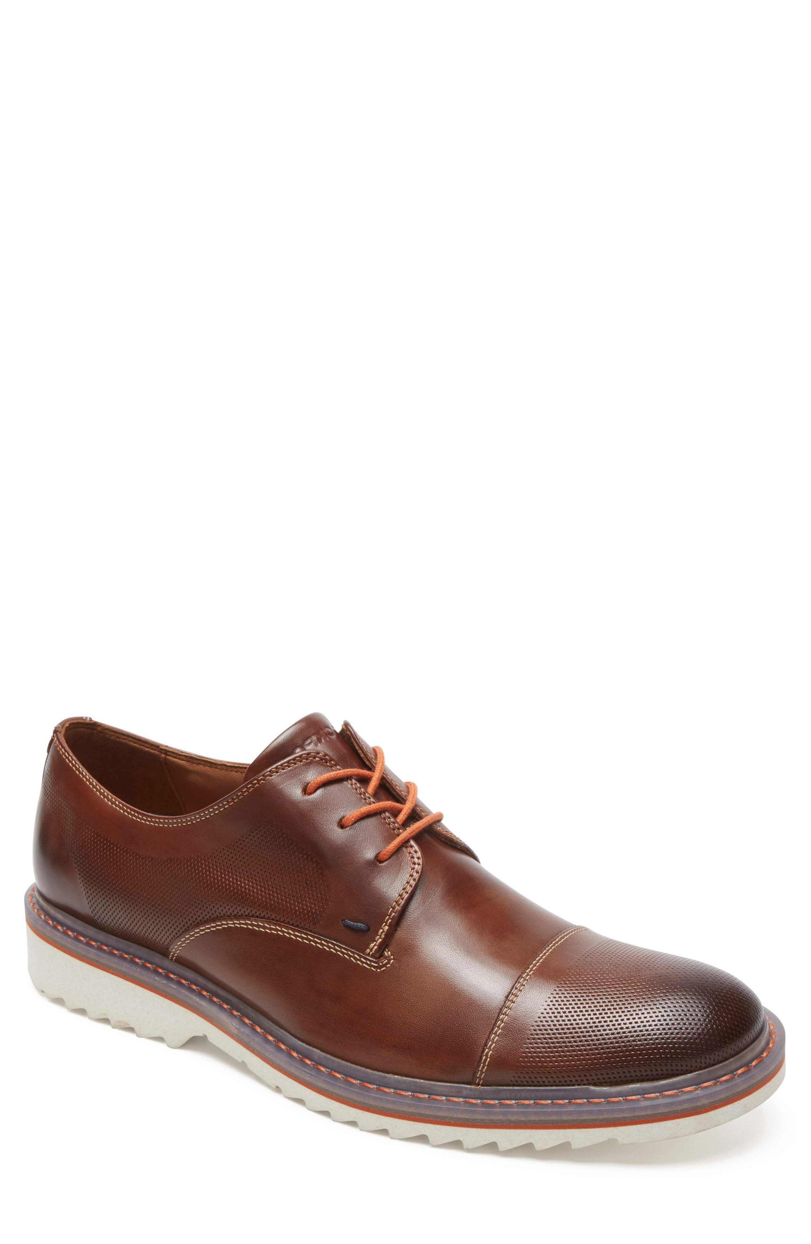 Jaxson Cap Toe Derby,                         Main,                         color, BROWN LEATHER