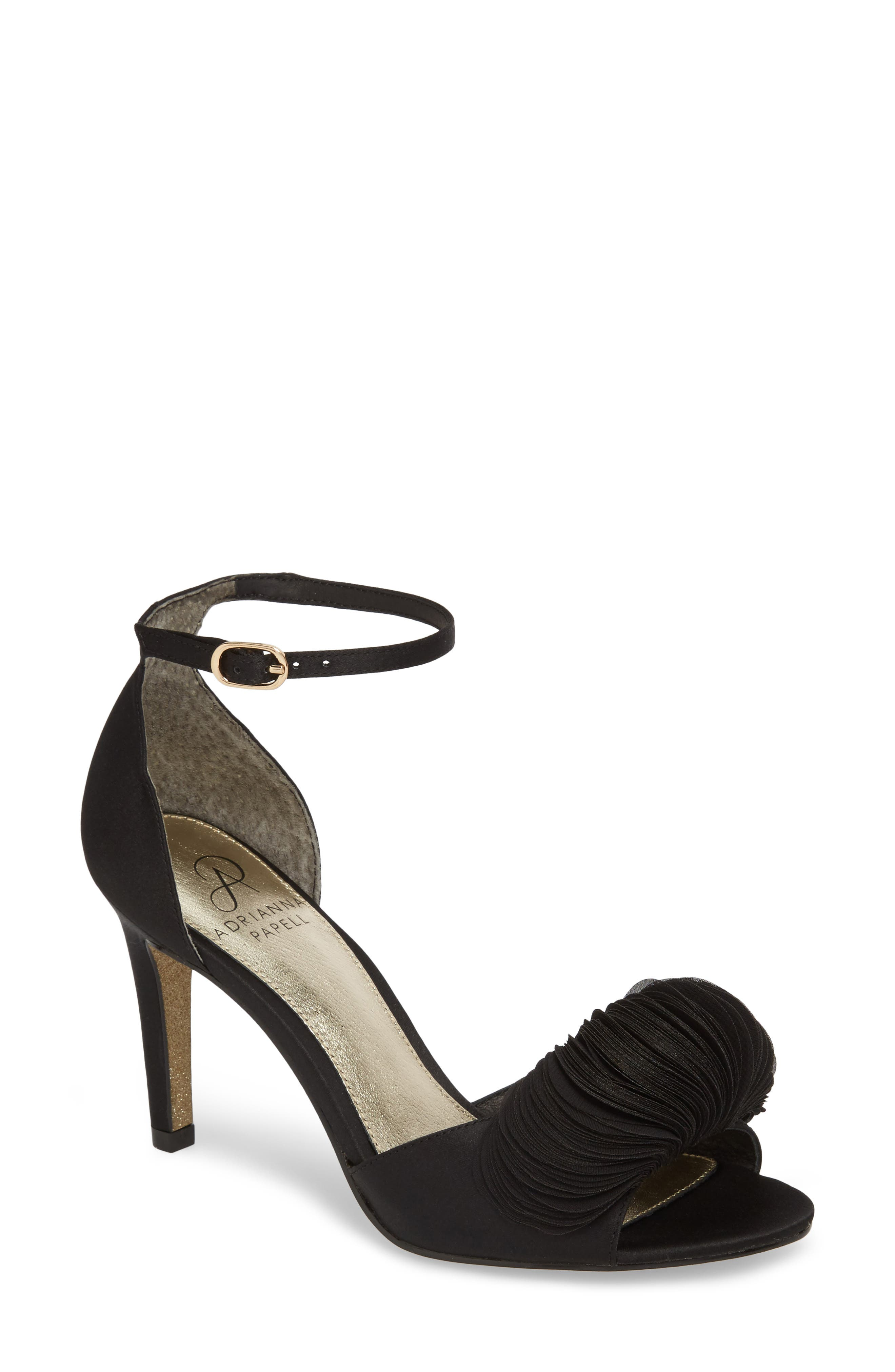 Gracie Ankle Strap Sandal,                             Main thumbnail 1, color,                             BLACK FABRIC