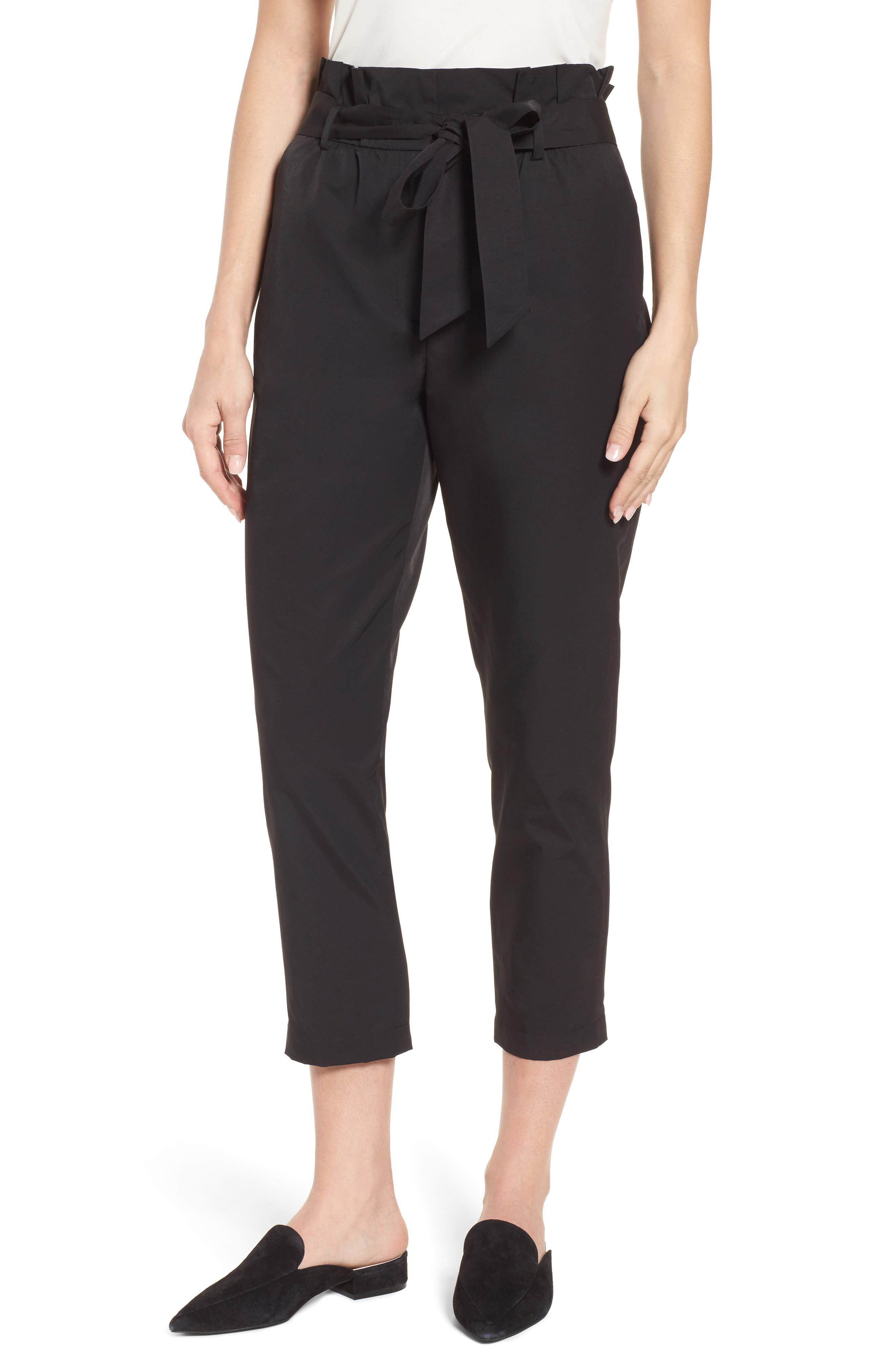 Paperbag Tie Waist Pants,                         Main,                         color, 001