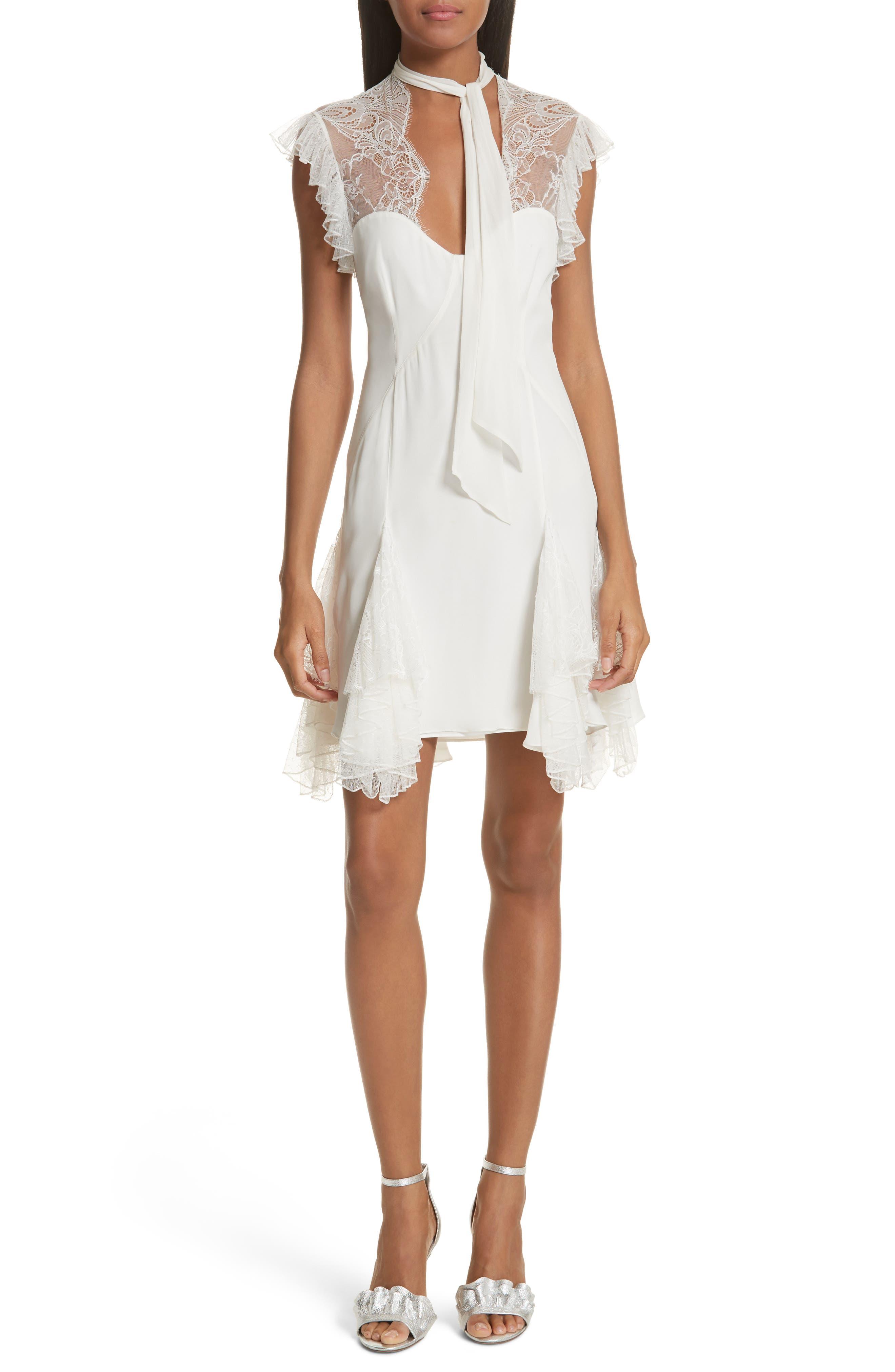 Clotilde Lace Trim Silk Dress with Scarf,                         Main,                         color,