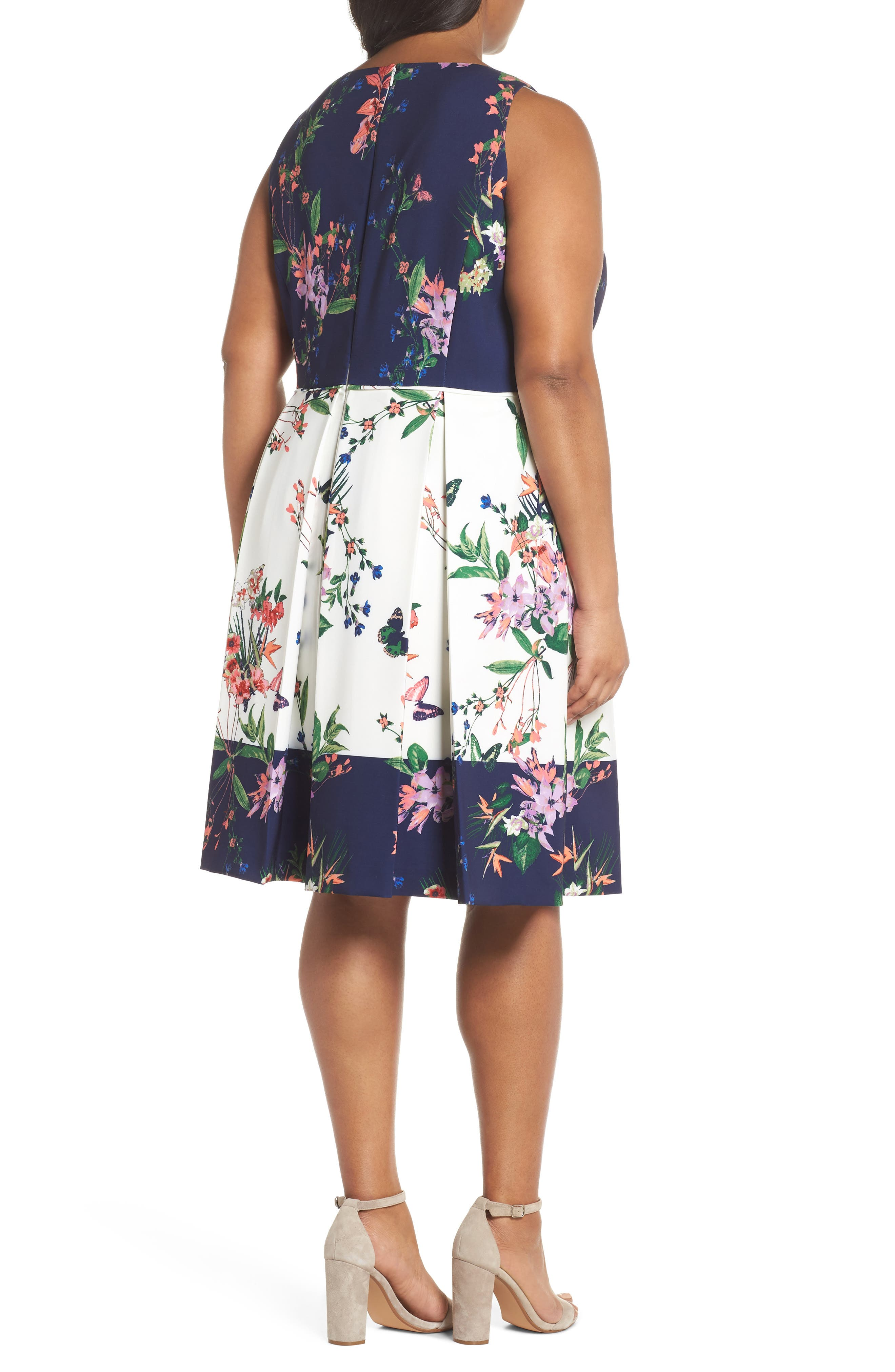 Colorblock Floral Crepe Fit & Flare Dress,                             Alternate thumbnail 2, color,                             452