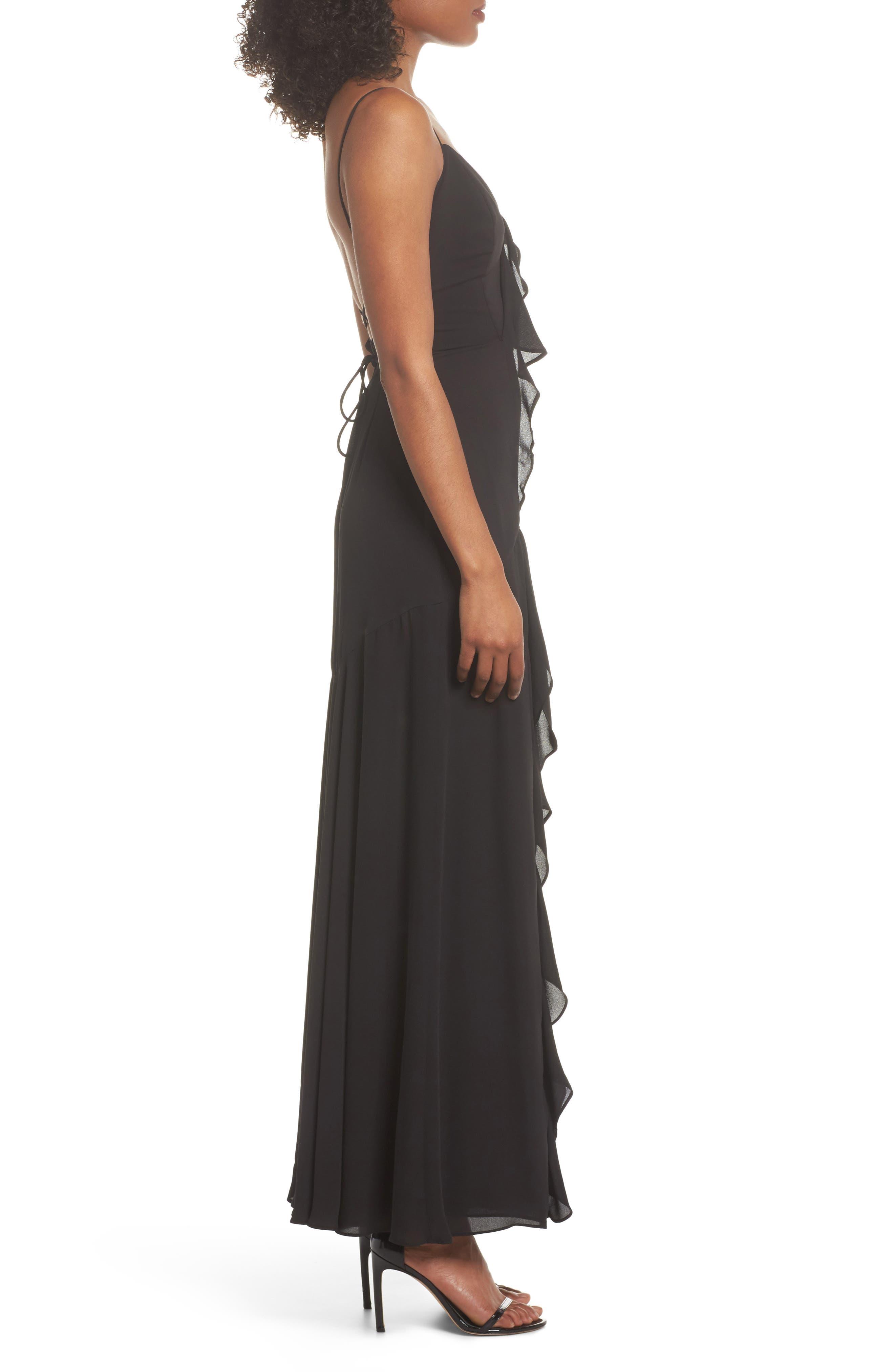 Callais Ruffle Gown,                             Alternate thumbnail 3, color,                             001