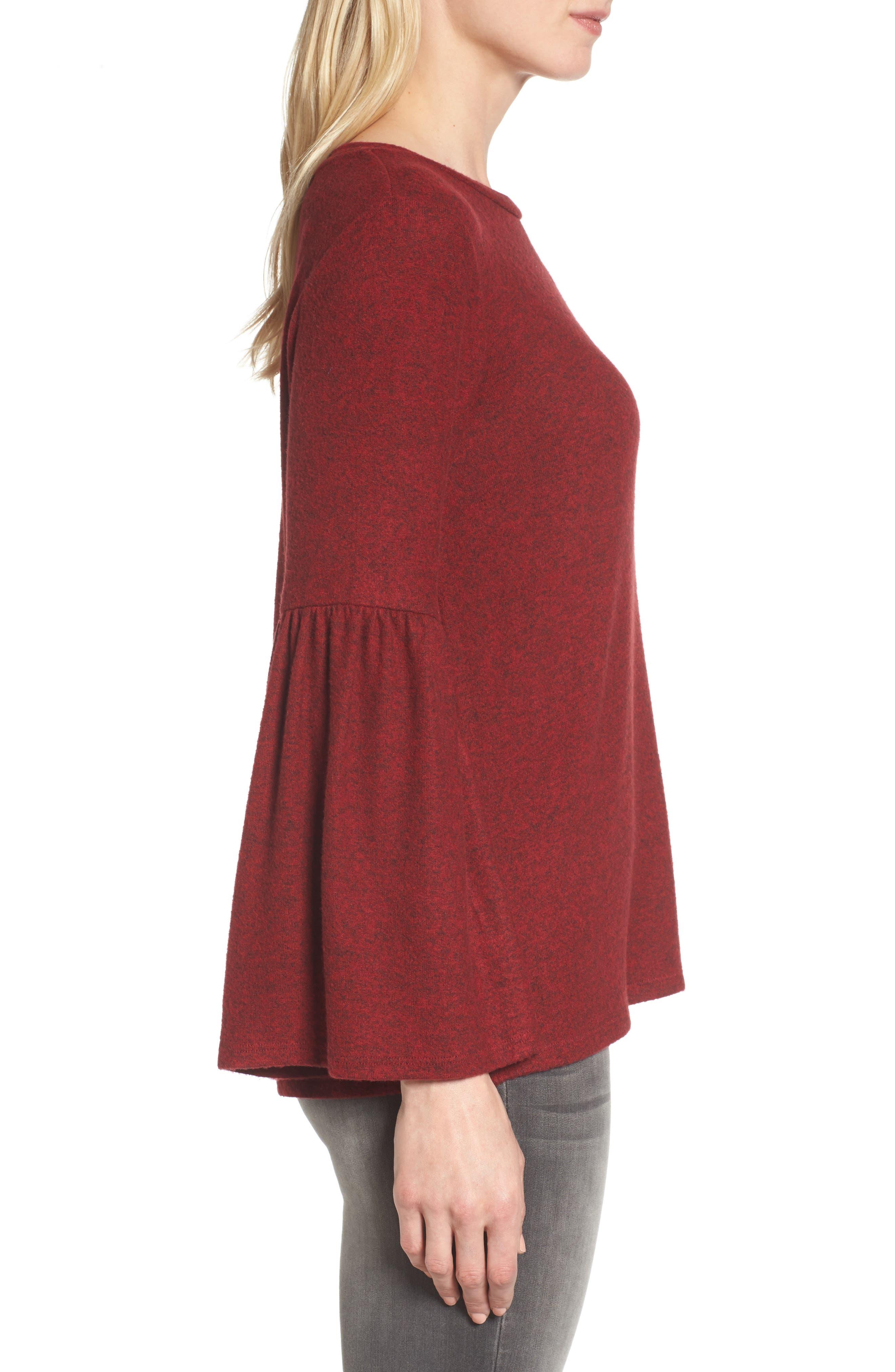 Bell Sleeve Cozy Fleece Pullover,                             Alternate thumbnail 29, color,