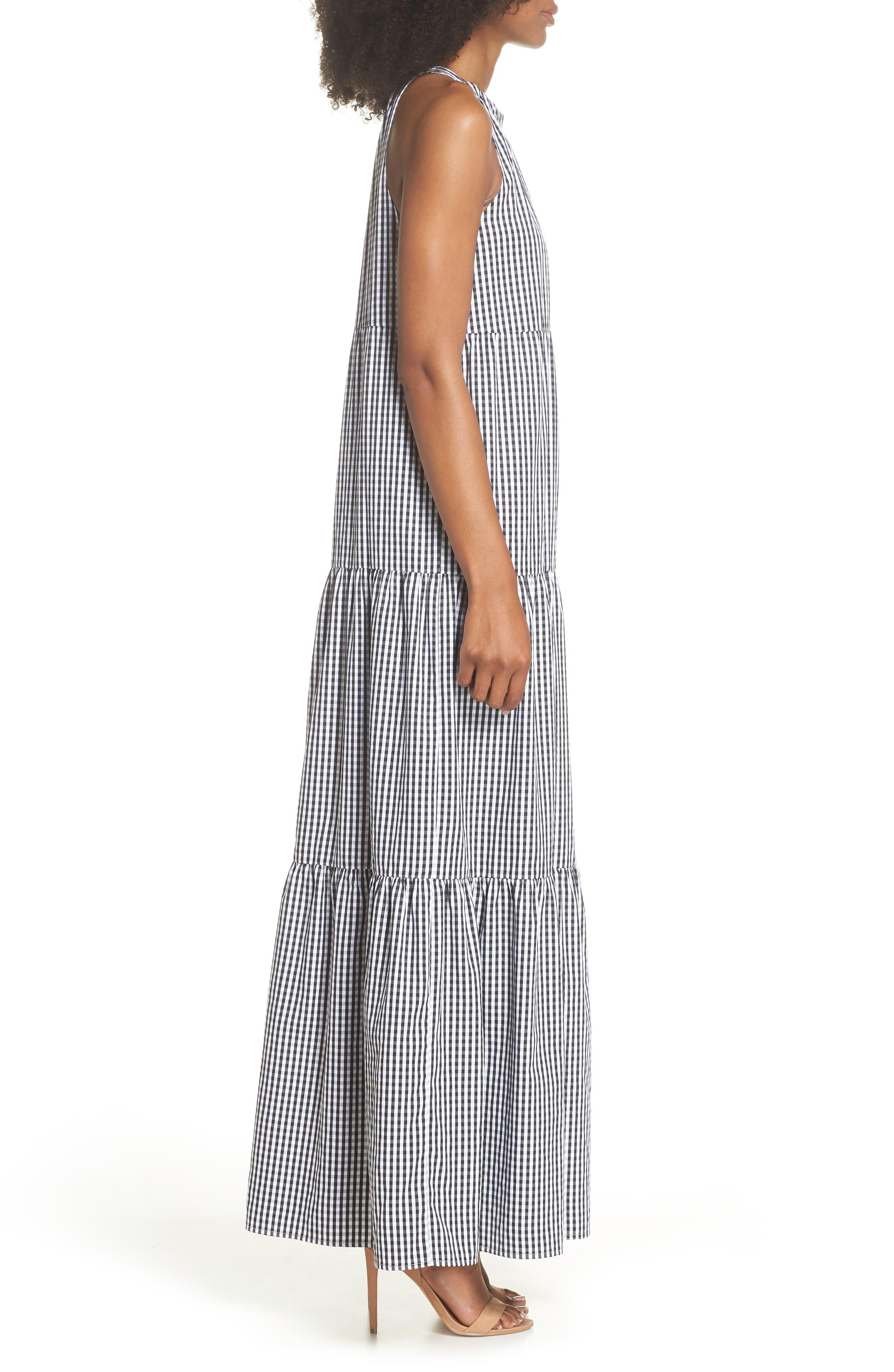 Gingham Check Maxi Dress,                             Alternate thumbnail 3, color,                             100