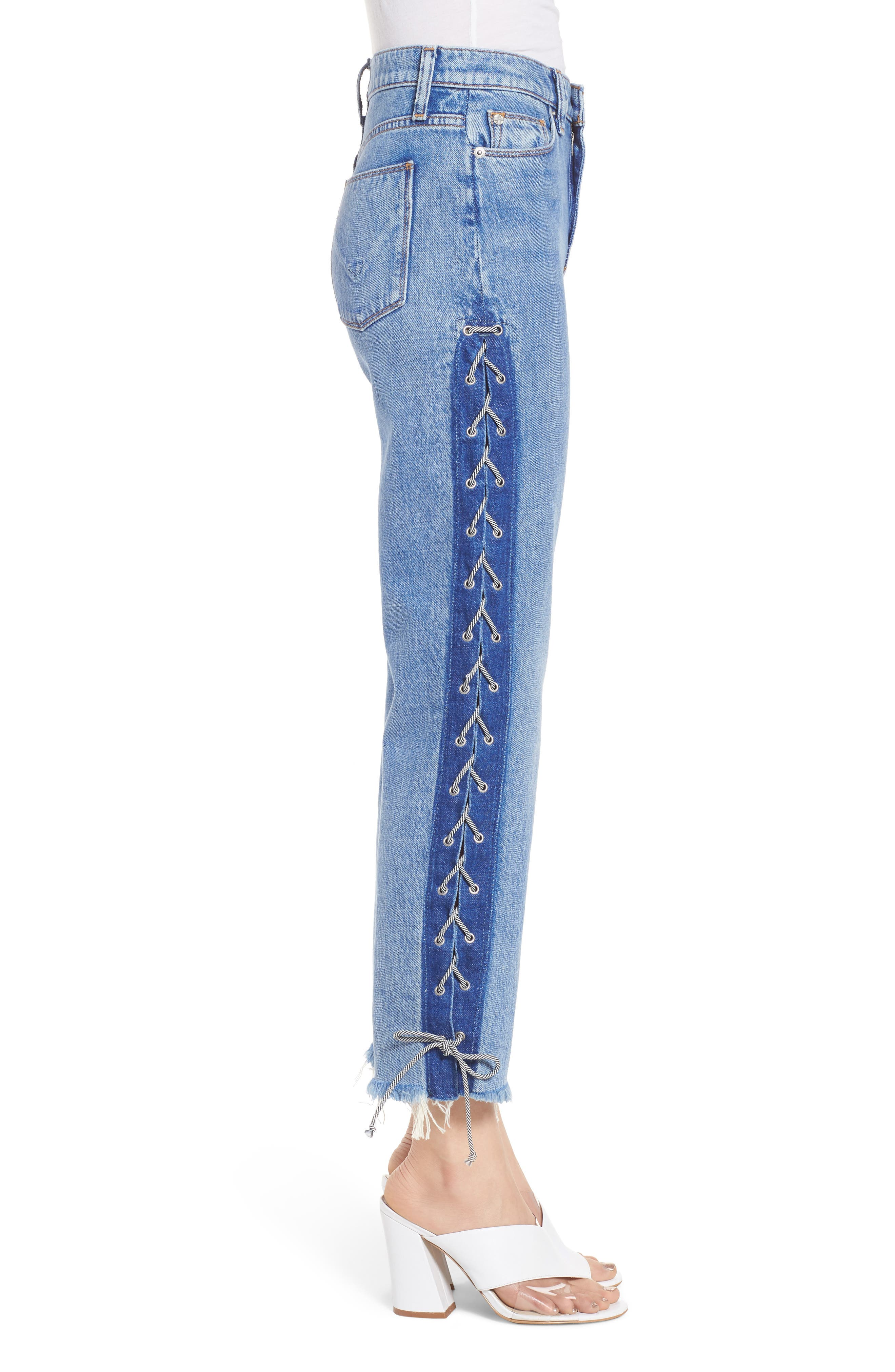 Zoeey High Waist Crop Straight Leg Jeans,                             Alternate thumbnail 3, color,                             460