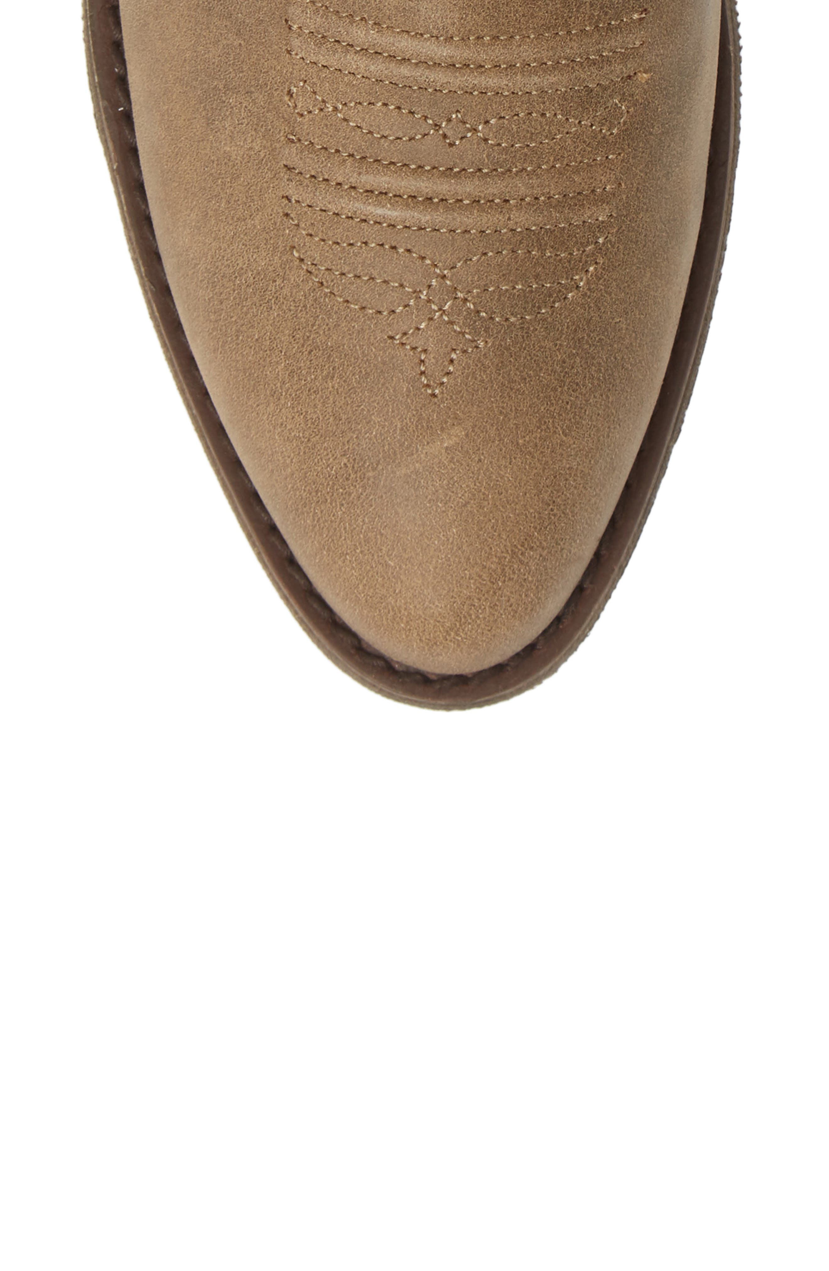Reina Slouchy Western Boot,                             Alternate thumbnail 5, color,                             BROWN BOMBER LEATHER