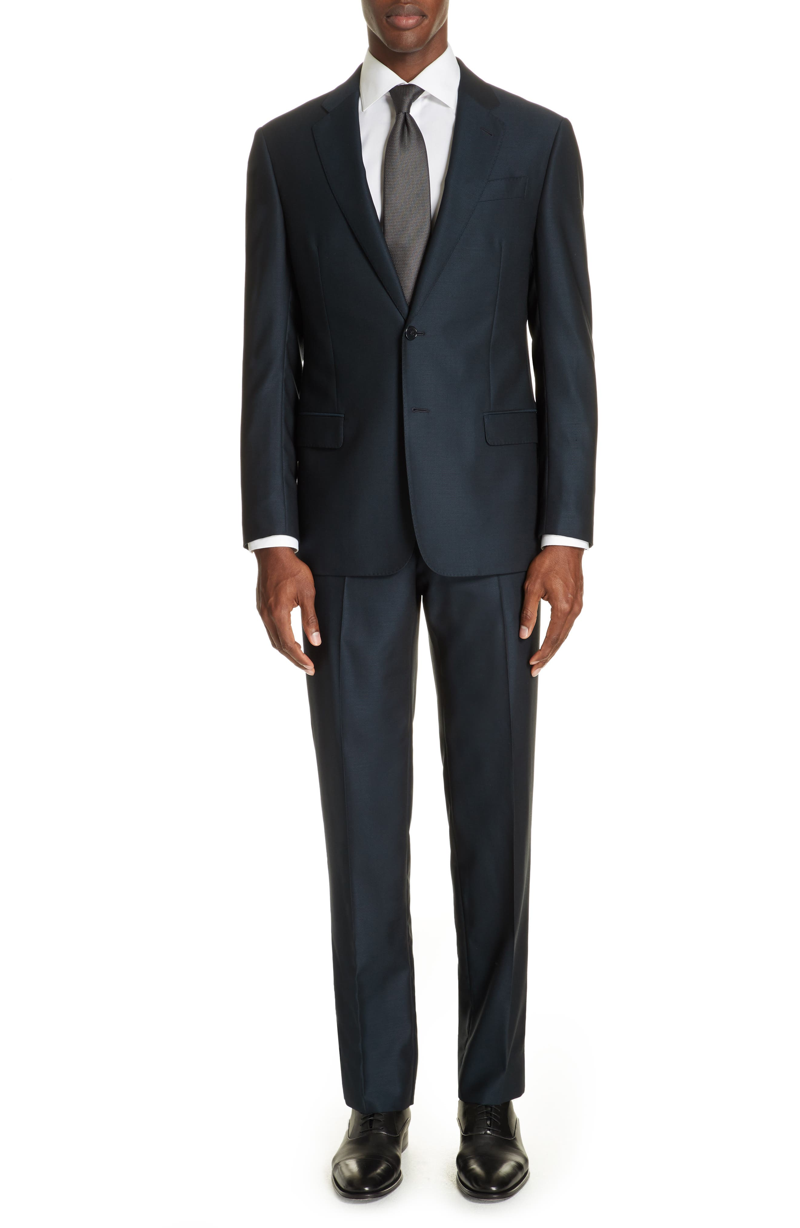 G-Line Trim Fit Solid Wool Suit in Blue